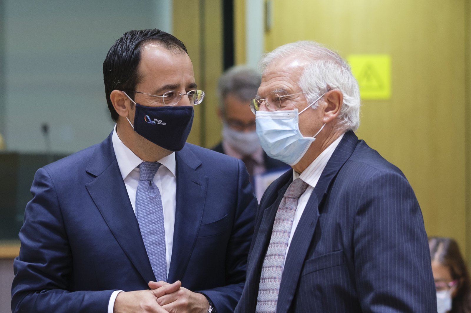 Greek Cypriot Minister of Foreign Affairs Nikos Christodoulides (L) talks with the European Union Commissioner for Foreign Affairs and Security Policy Josep Borrell prior to the EU Foreign Affairs Council in Brussels, Belgium, Sept. 21, 2020. (Getty Images)