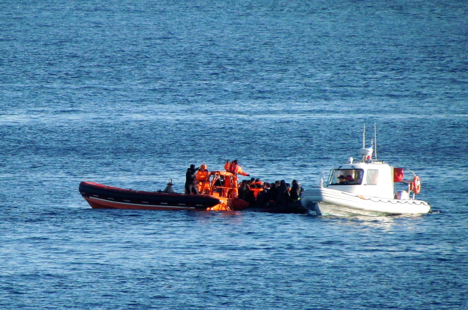 The Turkish Coast Guard managed to rescue two asylum-seekers and two more from the surrounding waters of Boğaz Island, located off the coast of Izmir, Turkey, March 19, 2021. (IHA)