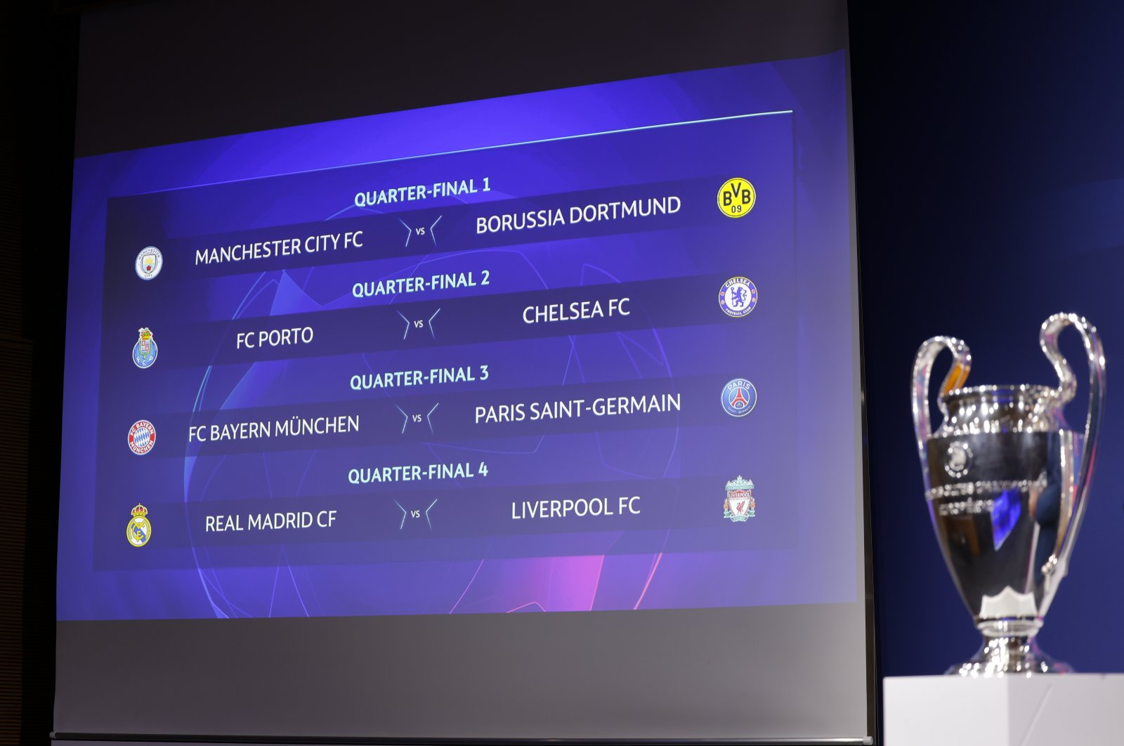 This handout photo shows the quarterfinal draw for the UEFA Champions League 2020/21, at the UEFA headquarters, The House of European Football in Nyon, Switzerland, March 19, 2021. (EPA Photo)