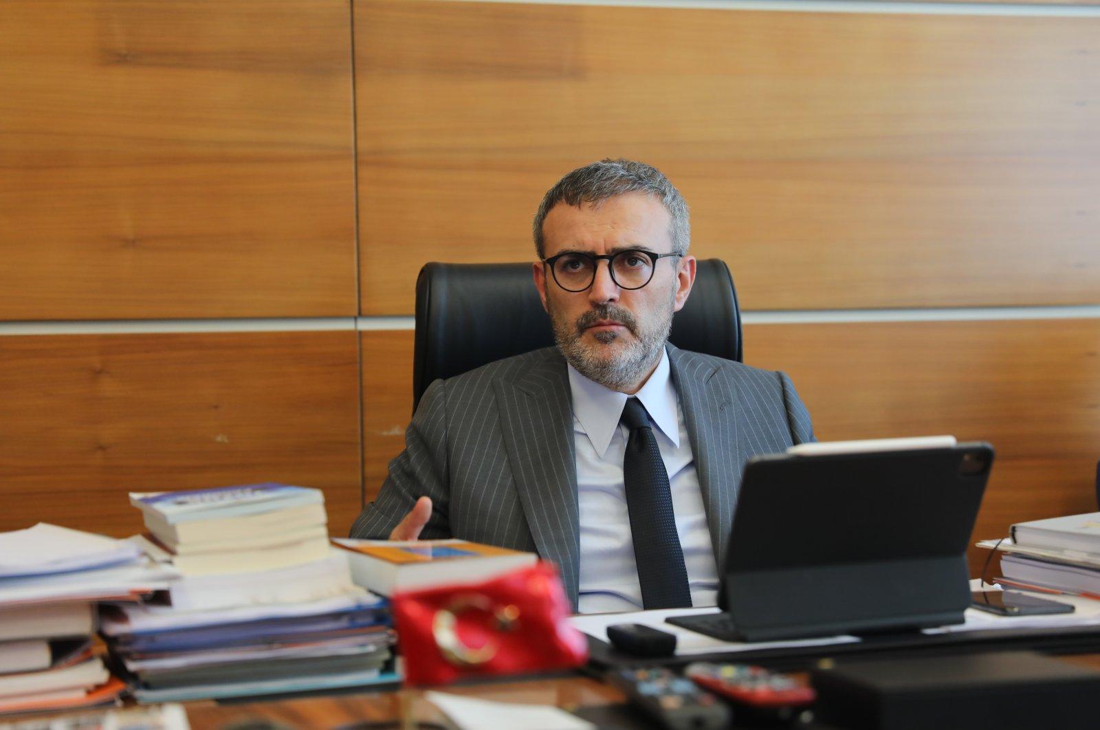 Justice and Development Party (AK Party) Deputy Chair Mahir Ünal speaks to Anadolu Agency (AA) in the capital Ankara, Turkey, March 19, 2021. (AA Photo)