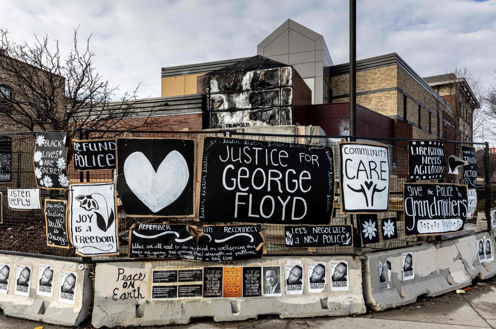 A general view of the burned and destroyed Third Police Precinct in Minneapolis which was burned in May 2020 during the protests after the death of George Floyd, Minnesota, U.S., March 11, 2021. (AFP Photo)