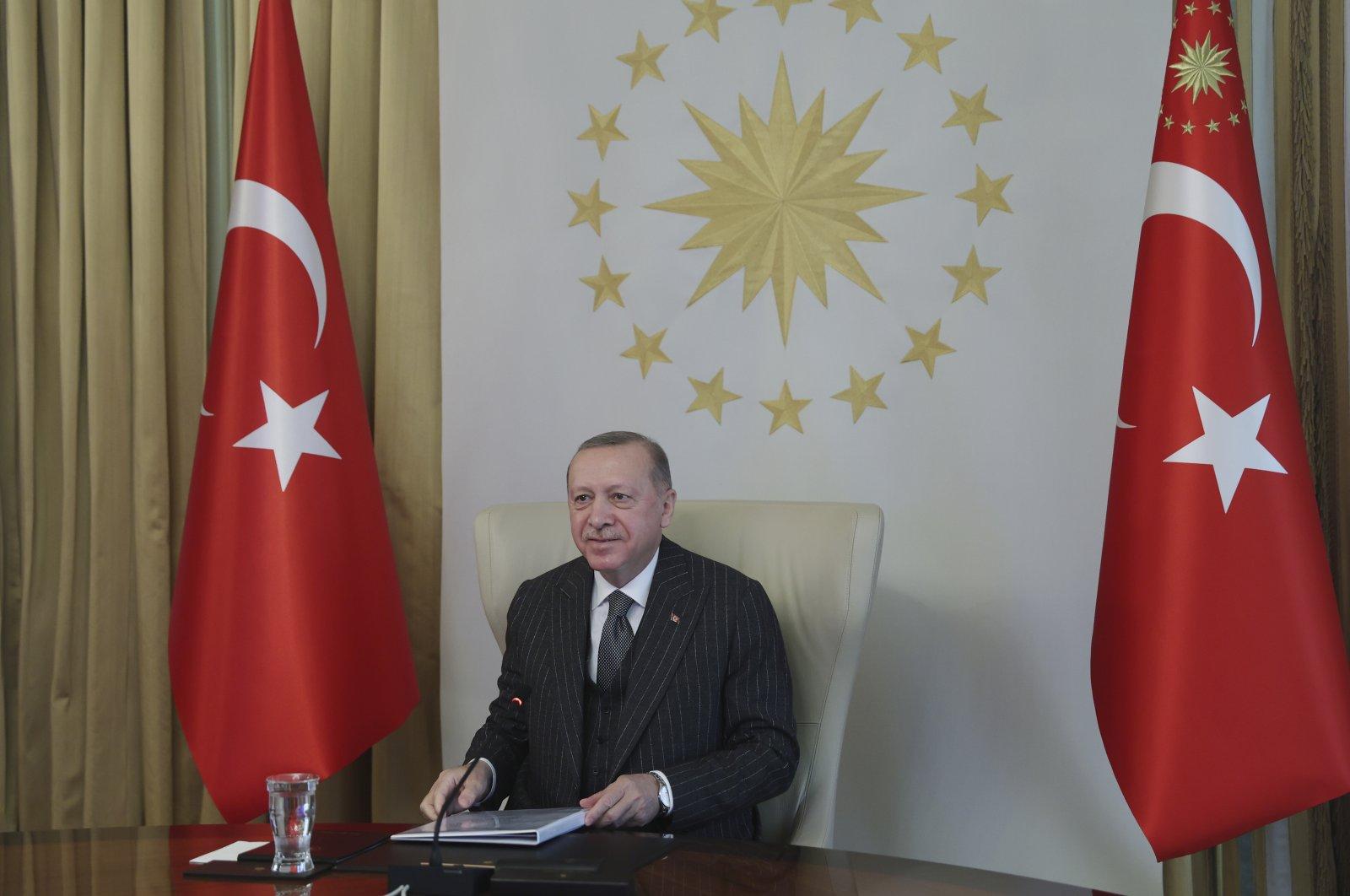 Turkey's President Recep Tayyip Erdoğan speaks in a videoconference with European Commission President Ursula von der Leyen and European Council President Charles Michel, in Istanbul, Turkey, March 19, 2021. (AP Photo)