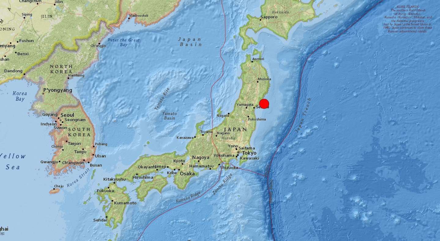 A screengrab from United States Geological Survey (USGS) shows the epicenter of the 7.2-magnitude earthquake off Miyagi, Japan, March 20, 2021.