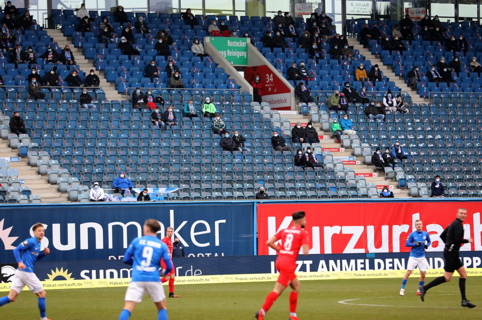 General view during the match between Hansa Rostock and Hallescher FC as fans are allowed to return to the stadium following the outbreak of the coronavirus disease (COVID-19), Rostock, Germany, March 20, 2021. (Reuters Photo)