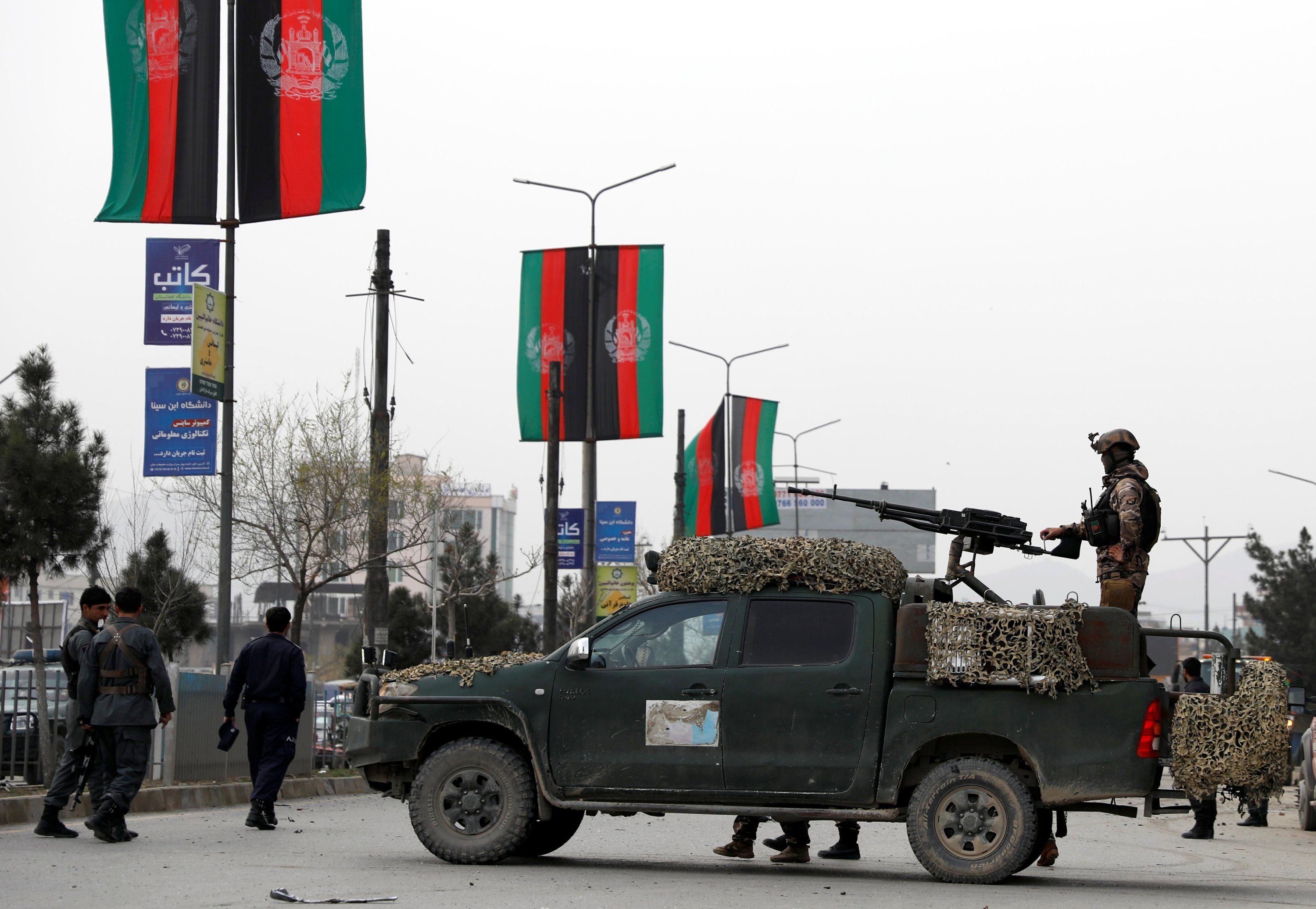 Afghan security forces inspect the site of a blast in Kabul, Afghanistan March 15, 2021. (REUTERS Photo)