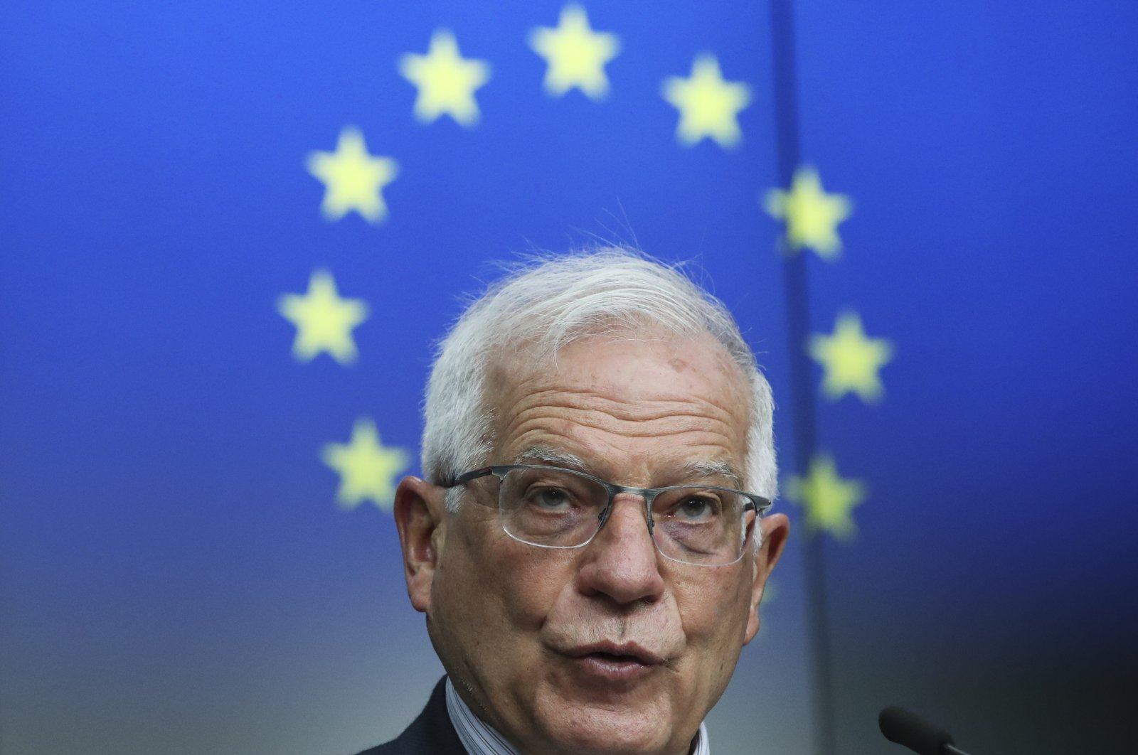 European Union Foreign Policy Chief Josep Borrell speaks during a news conference in Brussels, Belgium, March 16, 2021. (AP Photo)