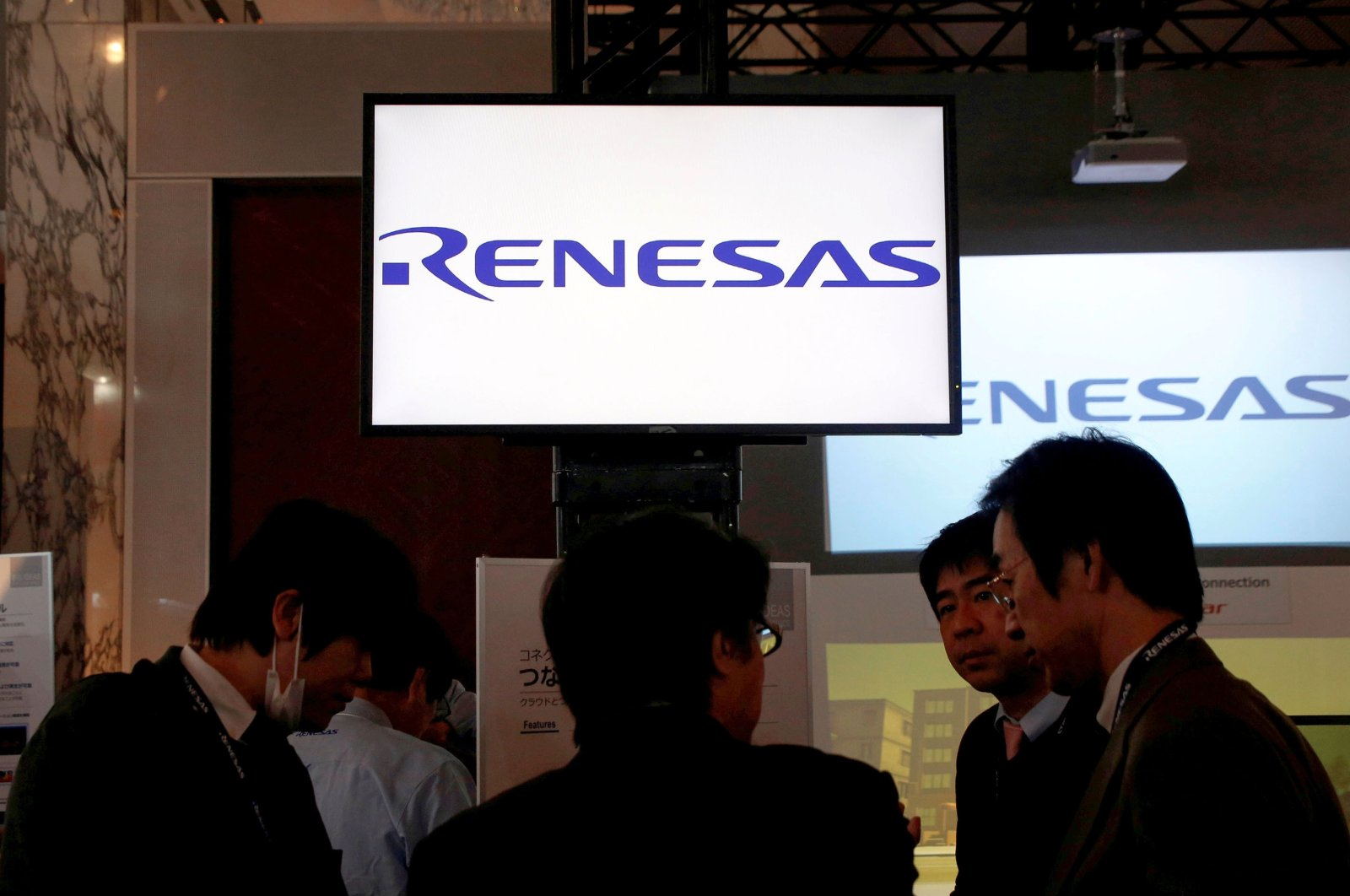 Renesas Electronics Corp.'s logos at the company's conference in Tokyo, Japan, April 11, 2017. (Reuters Photo)