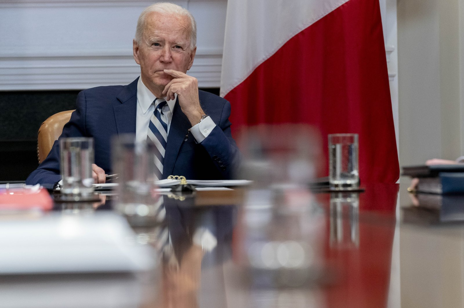 President Joe Biden attends a virtual meeting in the Roosevelt Room of the White House in Washington, U.S., March 1, 2021. (AP Photo)