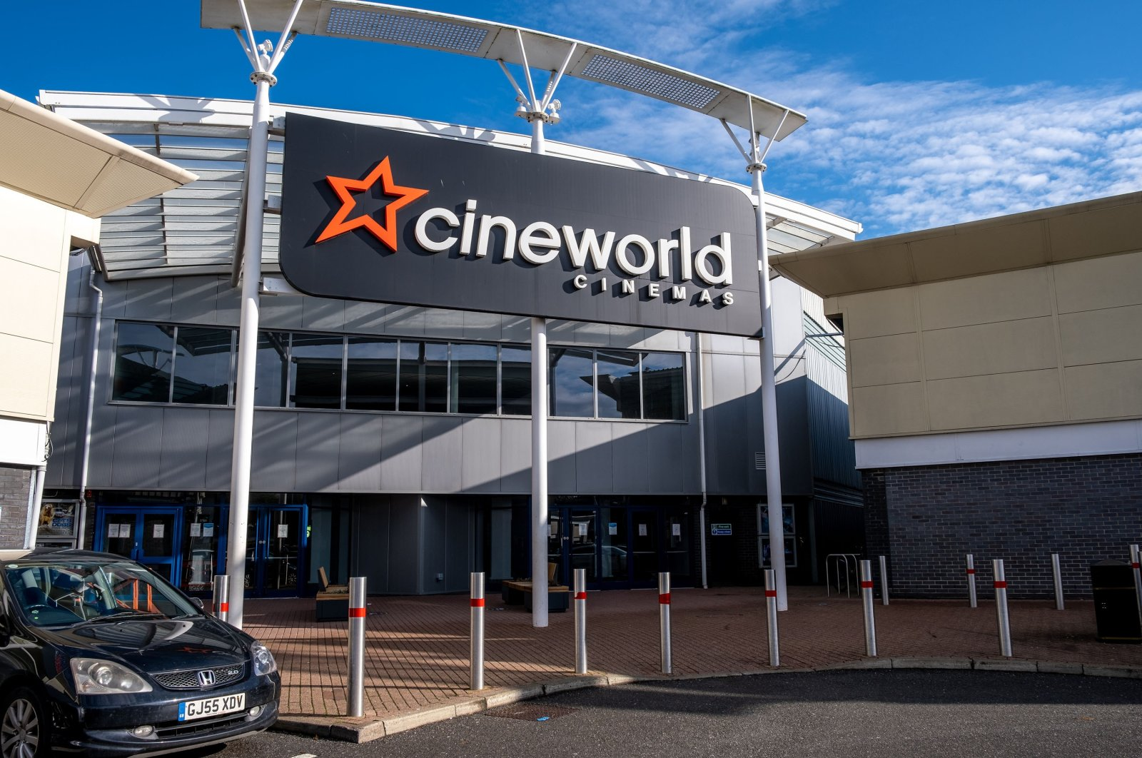 The entrance of one of the Cineworld buildings in Harlow, the U.K., Oct. 5, 2020. (Shutterstock Photo)