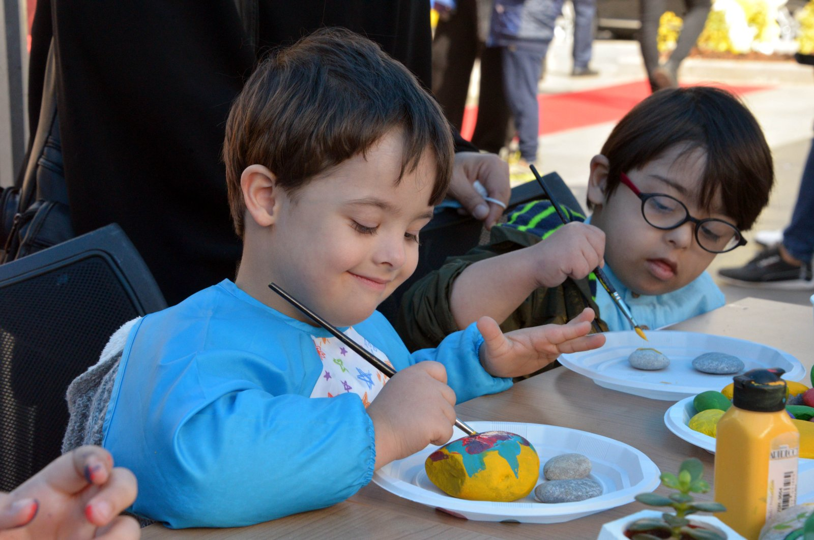 Children with Down syndrome enjoy a special event organized by the Onikişubat Municipality in southern Kahramanmaraş province on the World Down Syndrome Day, Mar. 21, 2021 (DHA Photo)