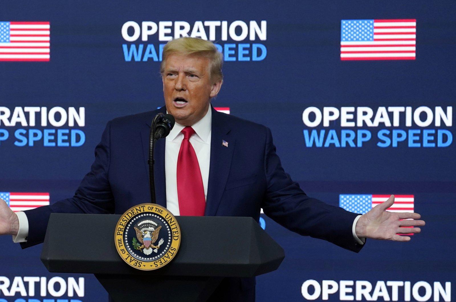 "Then-President Donald Trump speaks during an ""Operation Warp Speed Vaccine Summit"" on the White House complex, in Washington, U.S., Dec. 8, 2020. (AP)"