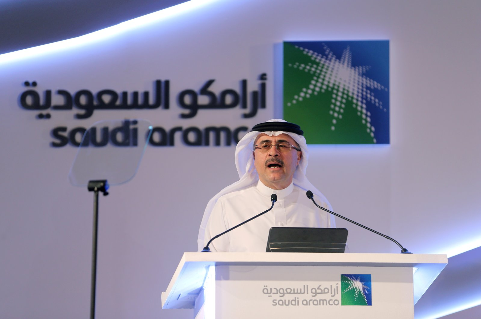 Amin Nasser, president and CEO of Saudi Aramco, speaks during a news conference at the Plaza Conference Center in Dhahran, Saudi Arabia, on Nov. 3, 2019. (Reuters File Photo)