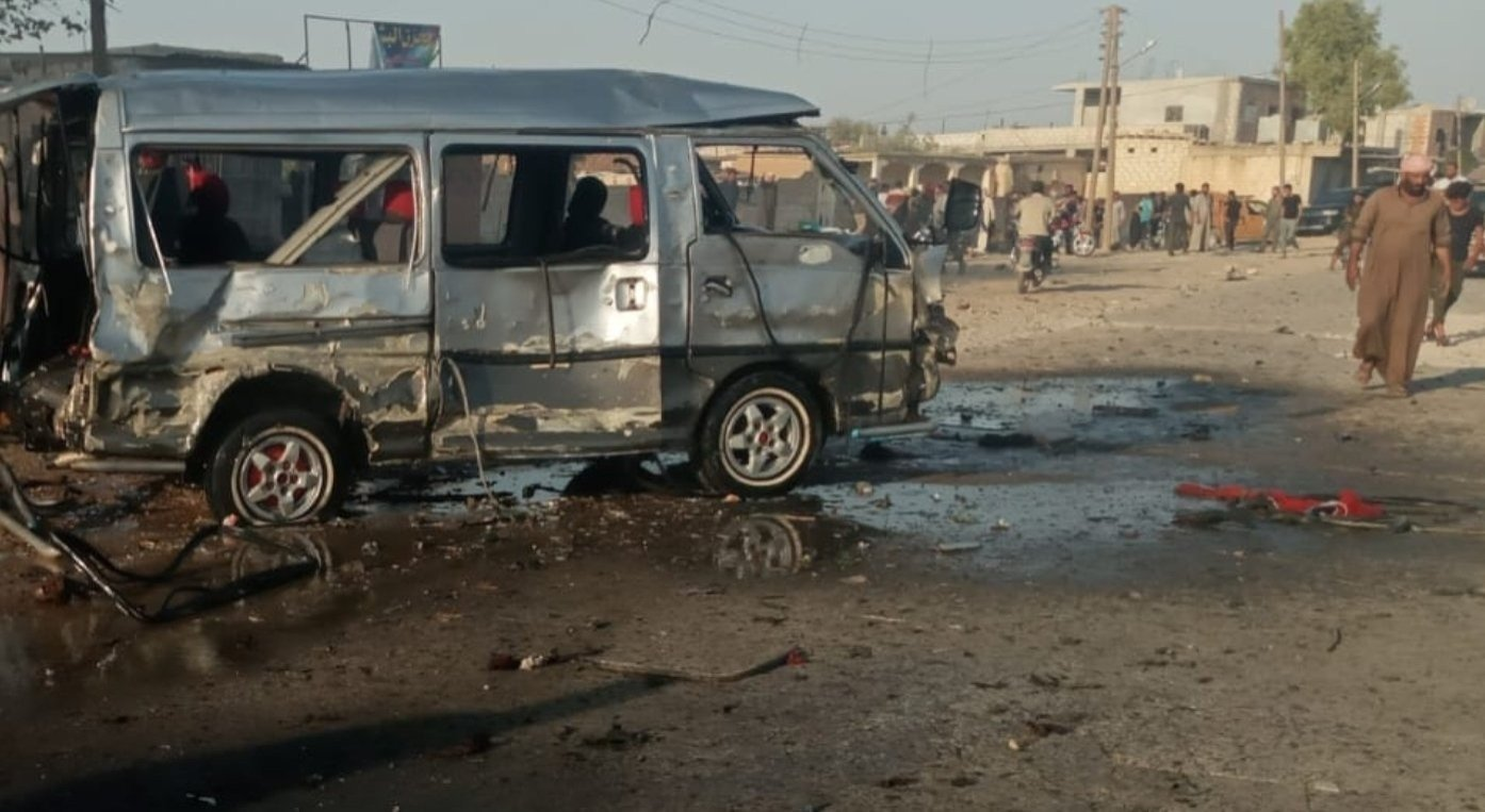 This file photo shows the site of a vehicle bombing that wounded three civilians in Ras al-Ain, Syria, Sept. 25, 2020. (IHA Photo)