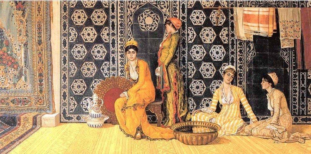 "Prominent painter Osman Hamdi Bey's ""Harem"" painting. (Archive Photo)"
