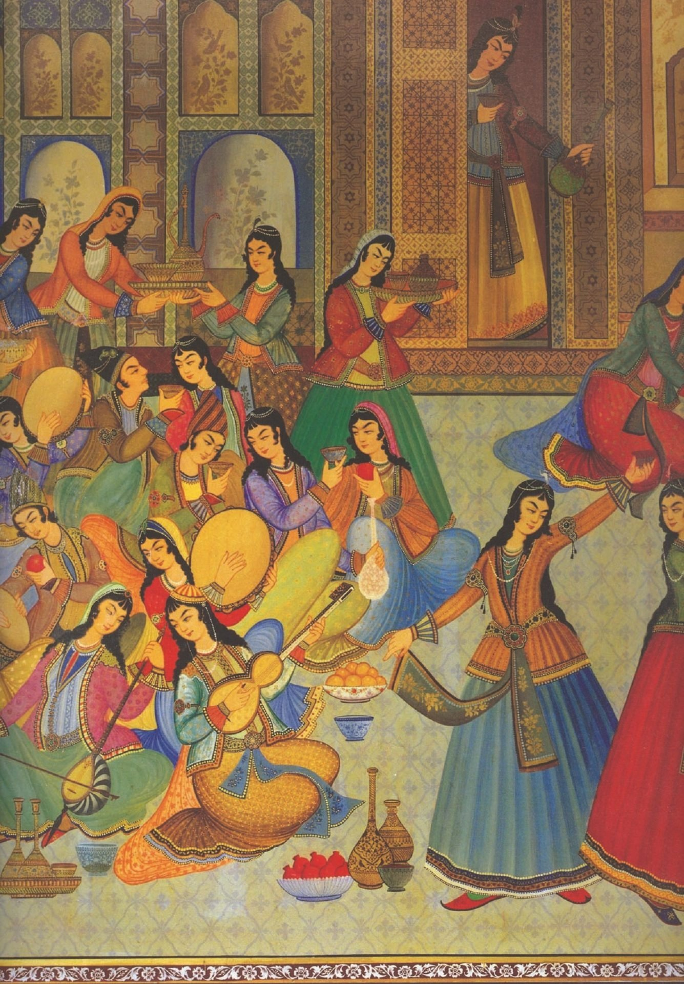 A miniature illustrates women in the Ottoman Palace. (Archive Photo)