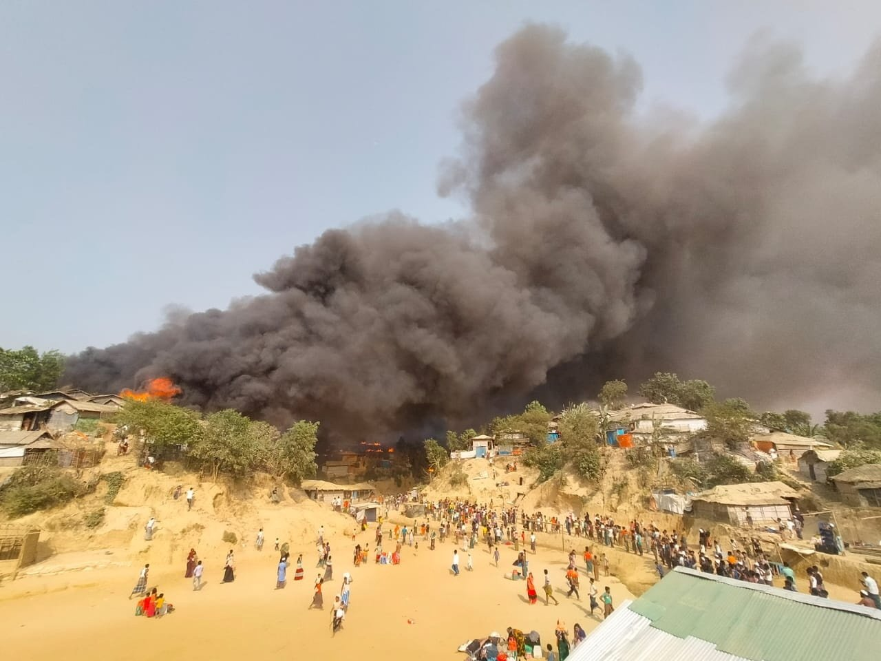 A fire is seen at a Balukhali refugee camp in Cox's Bazar, Bangladesh March 22, 2021 in this picture obtained from social media. (Rohingya Right Team/Md Arakani/via Reuters)