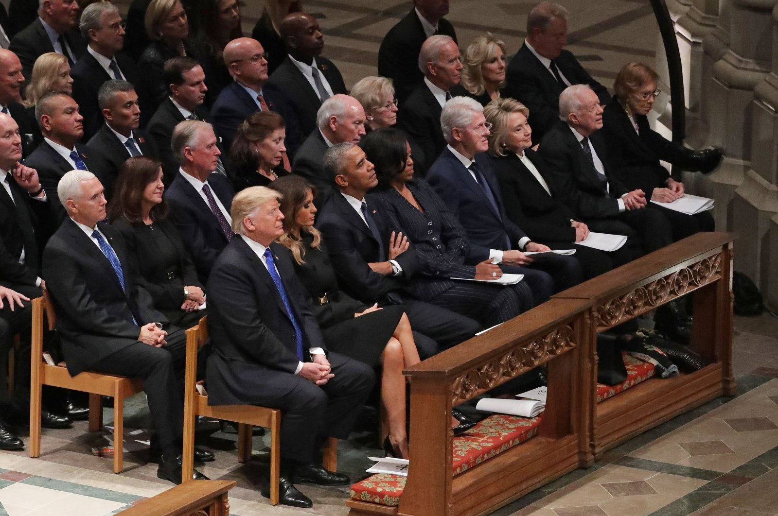 Former and incumbent U.S. presidents, vice presidents and first ladies attend the state funeral of former President George H.W. Bush at the National Cathedral, Washington, D.C., U.S., Dec. 5, 2018. (Getty Images)