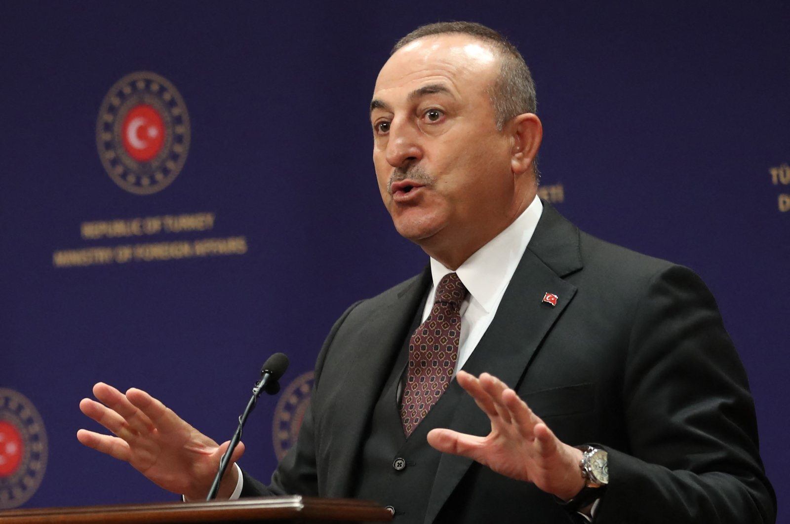 Turkish Foreign Minister Mevlüt Çavuşoğlu speaks at a press conference following a meeting with his Slovakian counterpart in Ankara, Turkey, March 16, 2021. (AFP Photo)
