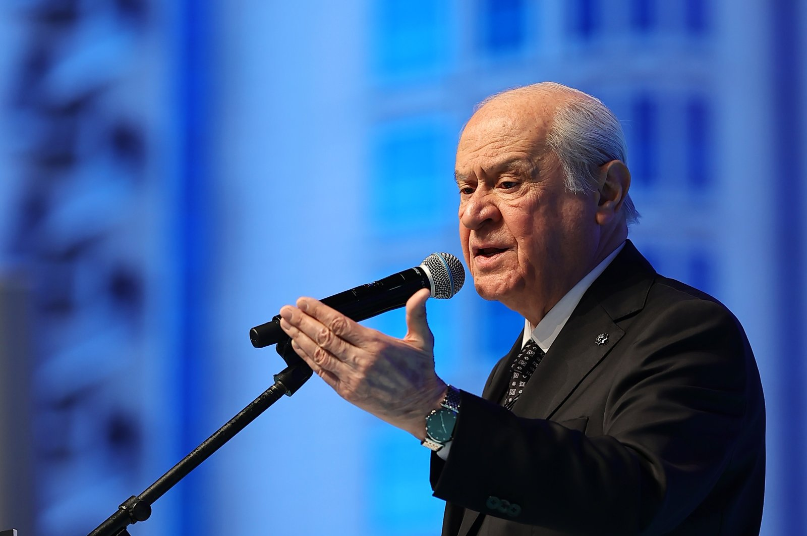 MHP leader Devlet Bahçeli gives a speech during the 13th Ordinary Congress of his party, in Ankara, Turkey, March 18, 2021. (AA)