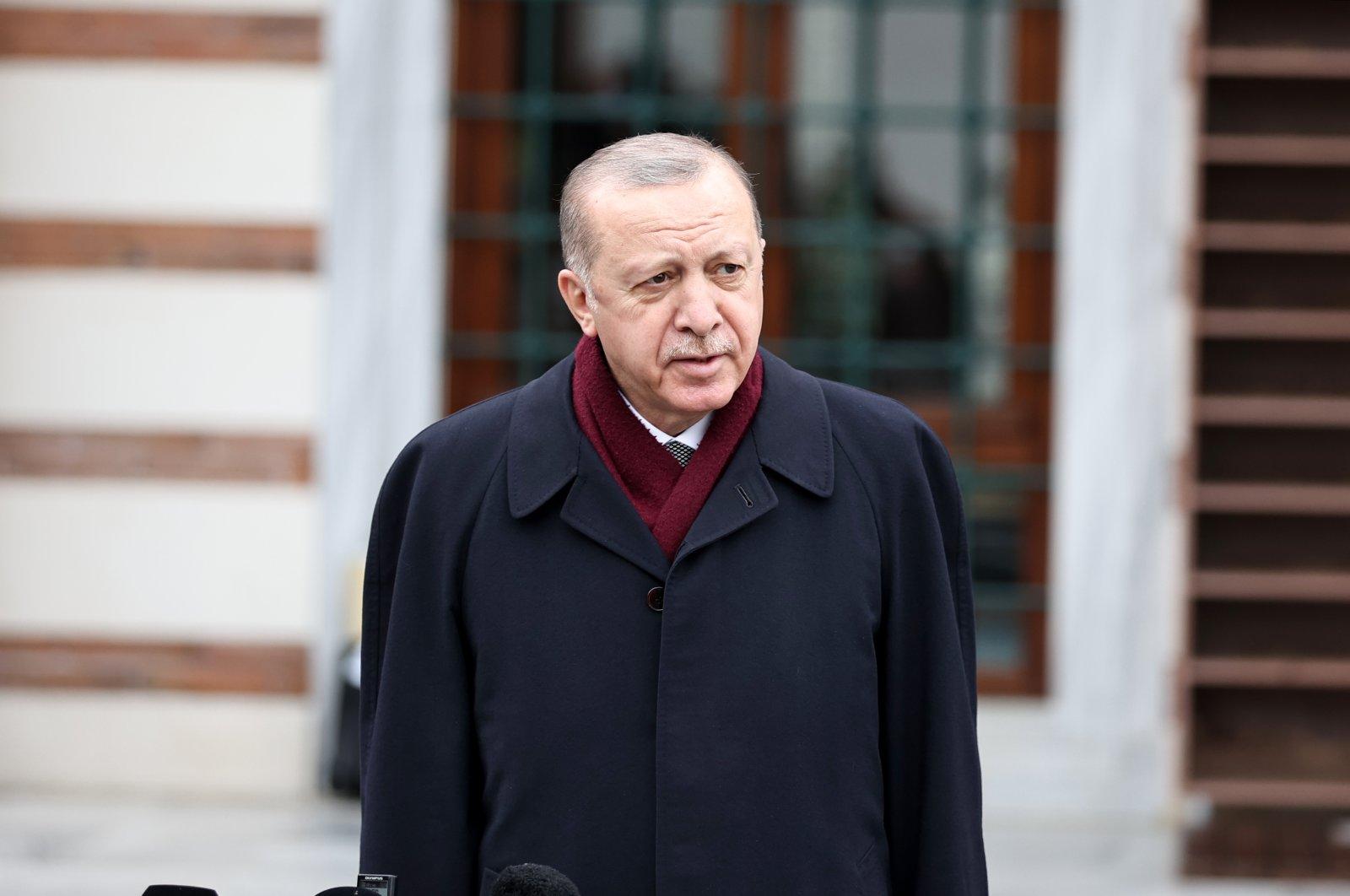 President Recep Tayyip Erdoğan speaks to journalists in Kerem Aydınlar Mosque, Istanbul, Turkey, March 19, 2021. (Anadolu Agency)