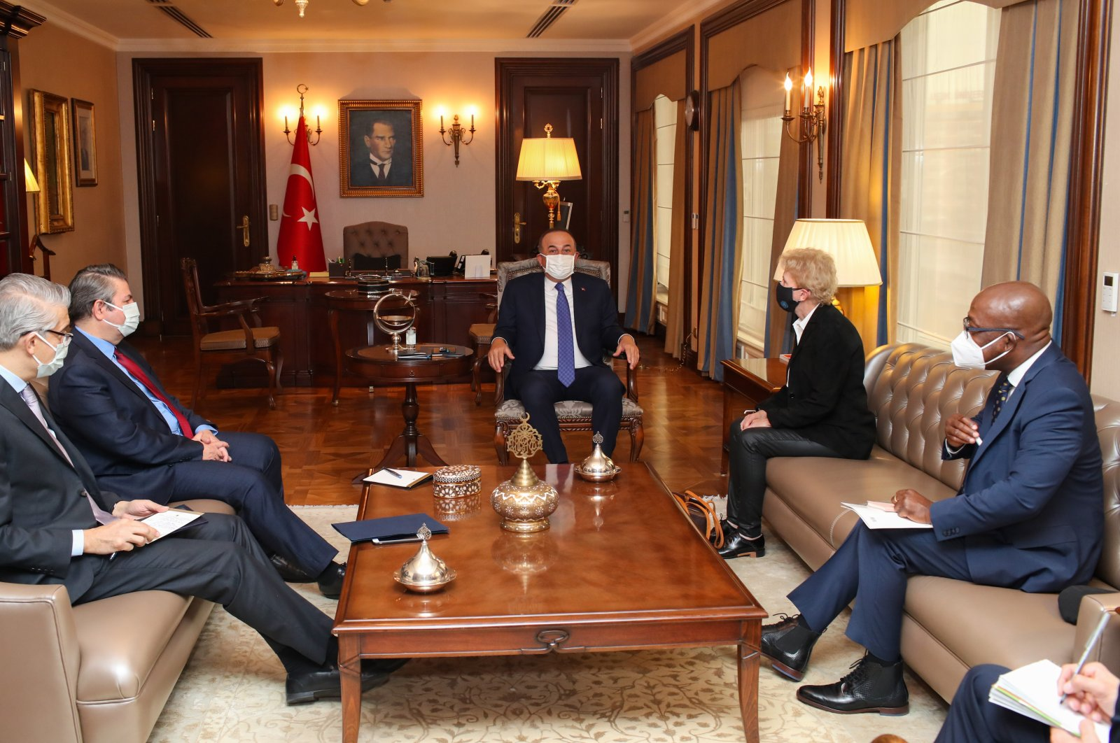 Foreign Minister of Turkey Mevlüt Çavuşoğlu (C) meets with United Nation's special envoy Jane Holl Lute (2nd R), in Ankara, Turkey, March 22, 2021. (AA)