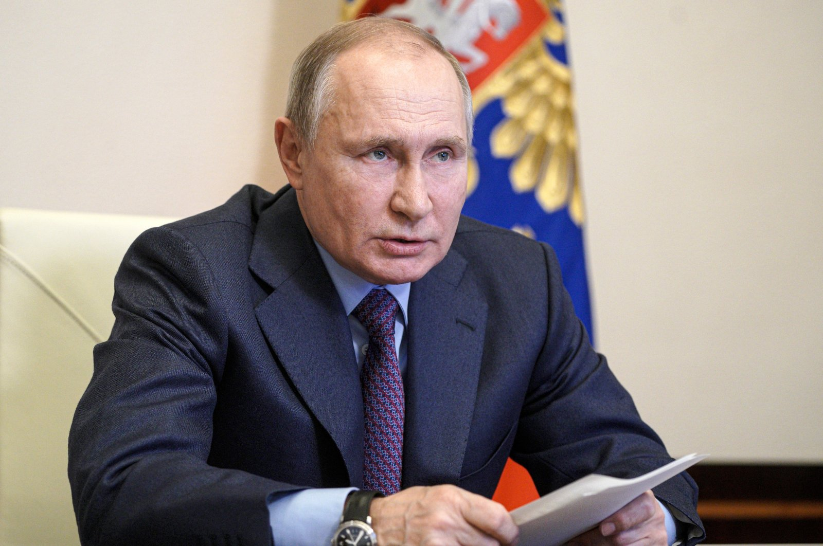 Russian President Vladimir Putin speaks during a meeting with government officials via video conference at the Novo-Ogaryovo residence outside Moscow, Russia, March 22, 2021. (AP Photo)