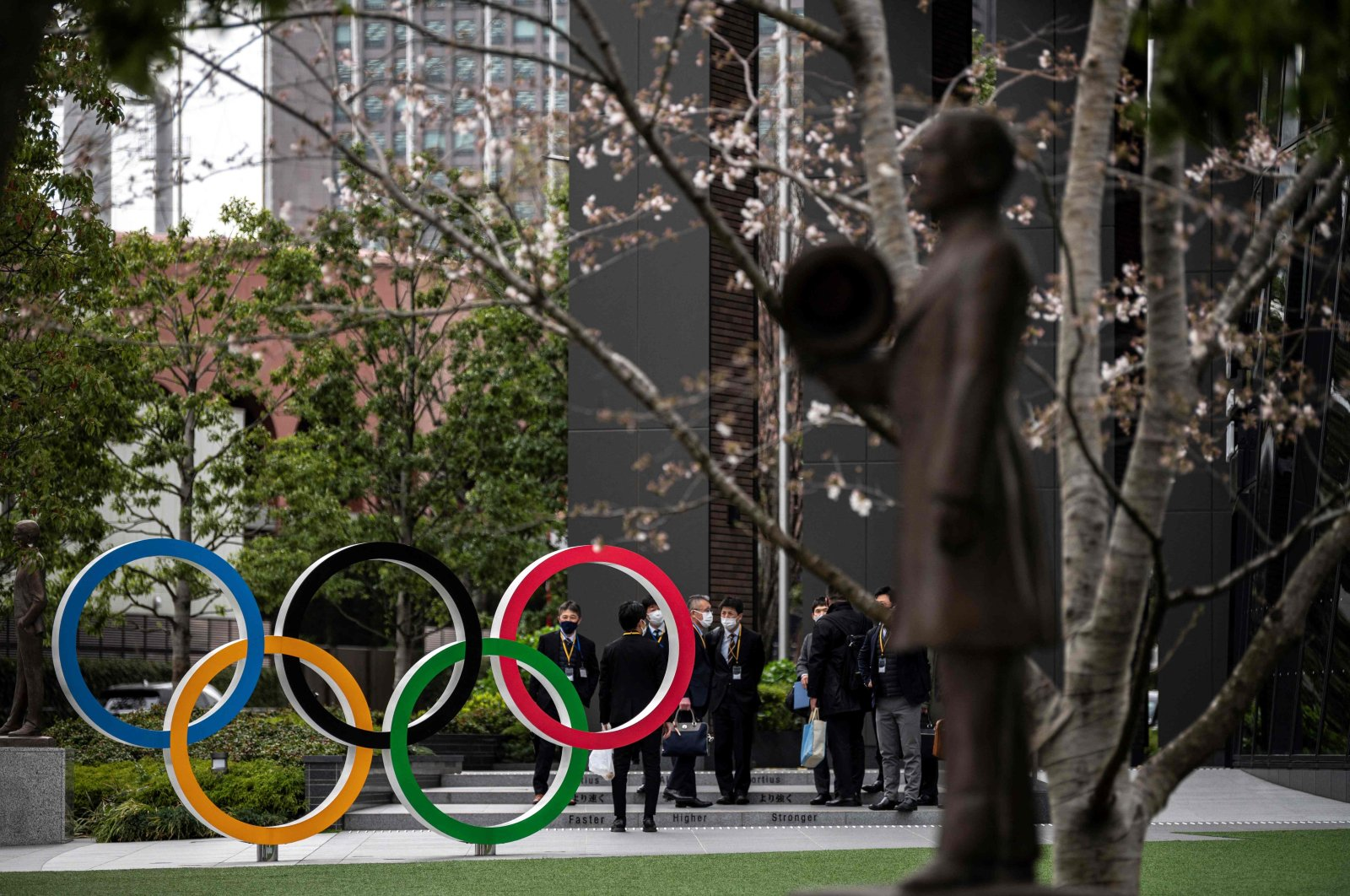 This picture shows the Olympic Rings outside the Japan Olympic Museum in Tokyo, Japan. March 22, 2021. (AFP Photo)