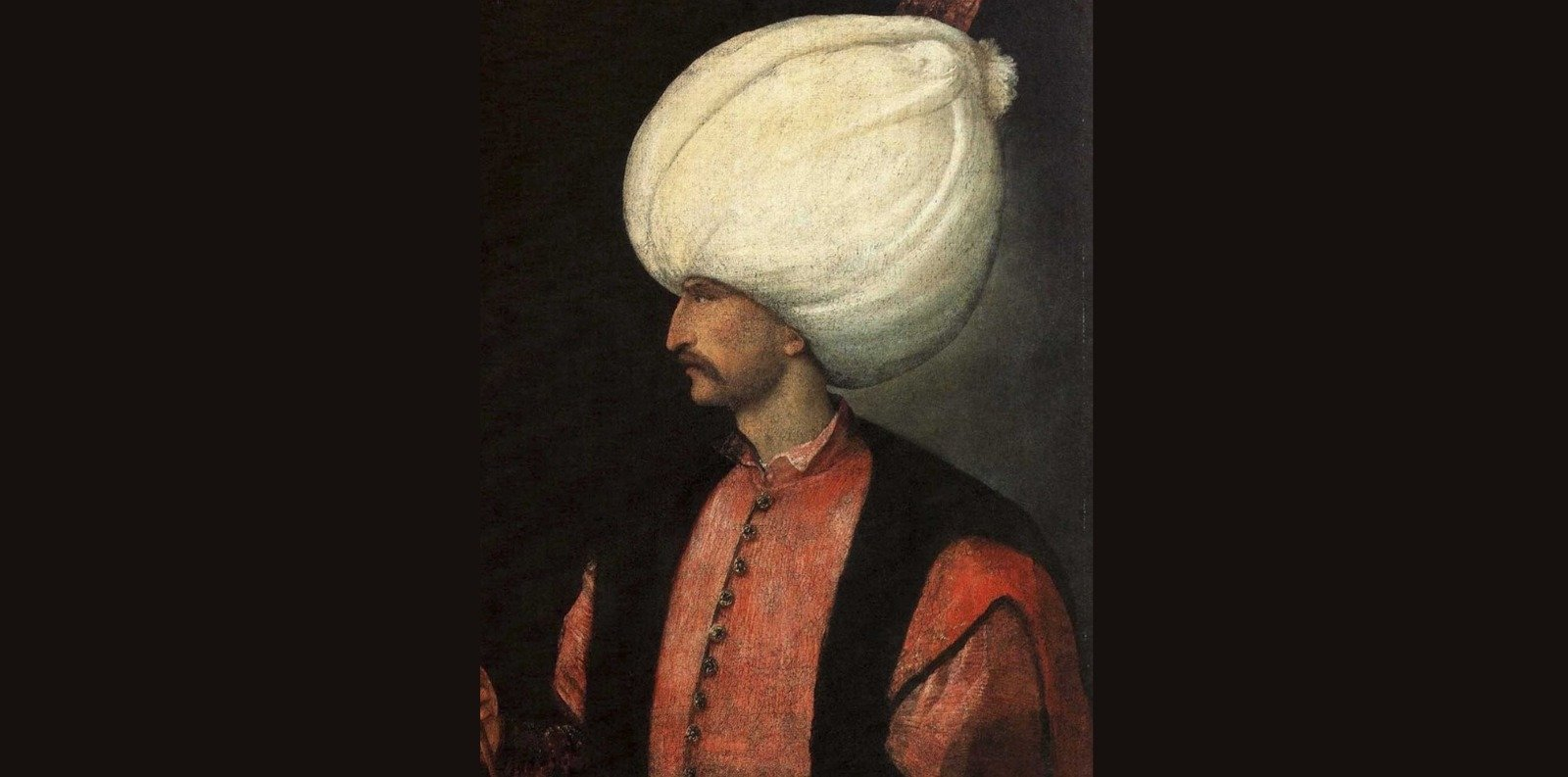 A portrait of Ottoman Sultan Suleiman I attributed to the Italian painter Titian.