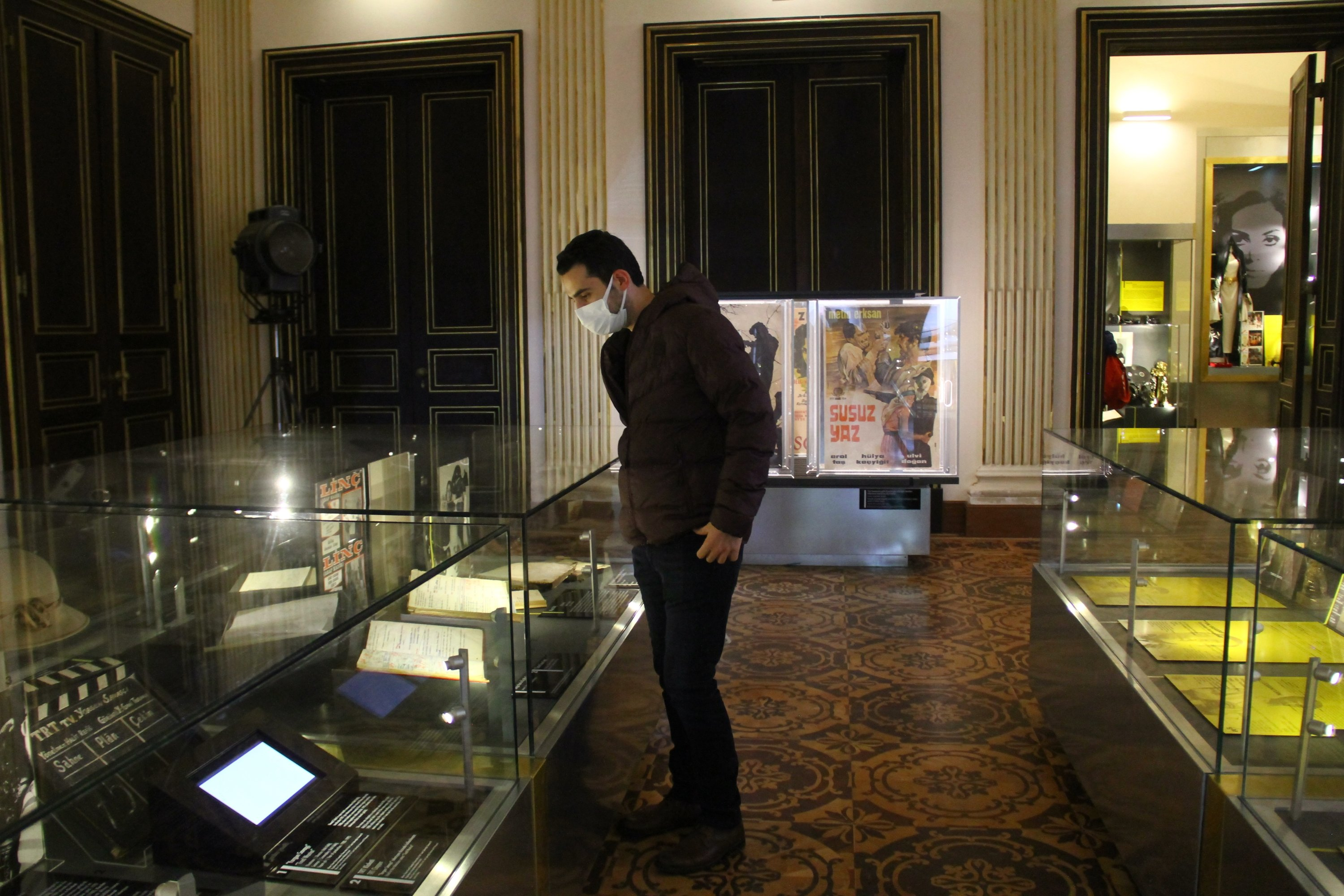 A visitor examines exhibits at the Istanbul Cinema Museum, Istanbul, Turkey. (Courtesy of the author)