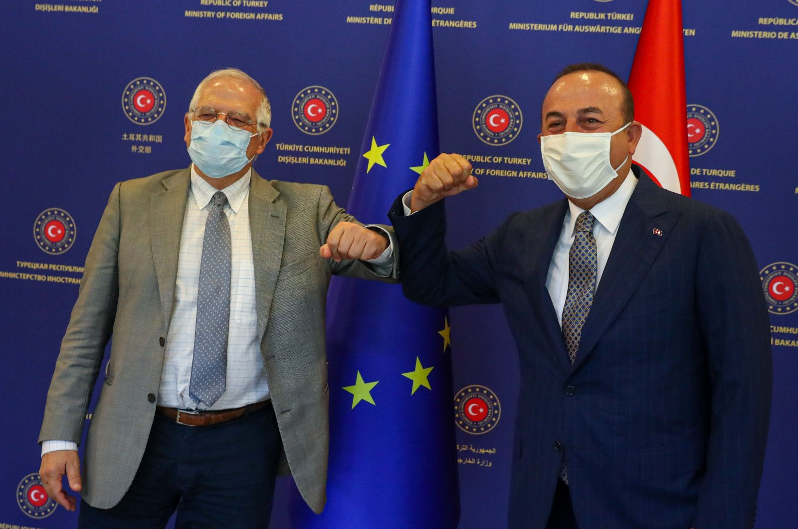 EU High Representative Josep Borrell (L) and Foreign Minister Mevlüt Çavuşoğlu during a meeting in the capital Ankara, Turkey, July 7, 2020. (AA Photo)