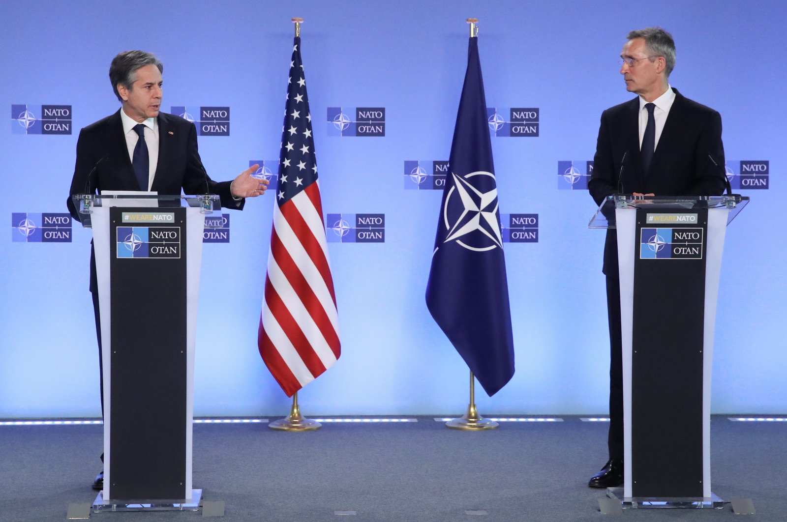 U.S. Secretary of State Antony Blinken and NATO Secretary-General Jens Stoltenberg deliver remarks in a NATO foreign ministers' meeting at the alliance's headquarters in Brussels, Belgium, March 23, 2021. (Reuters Photo)