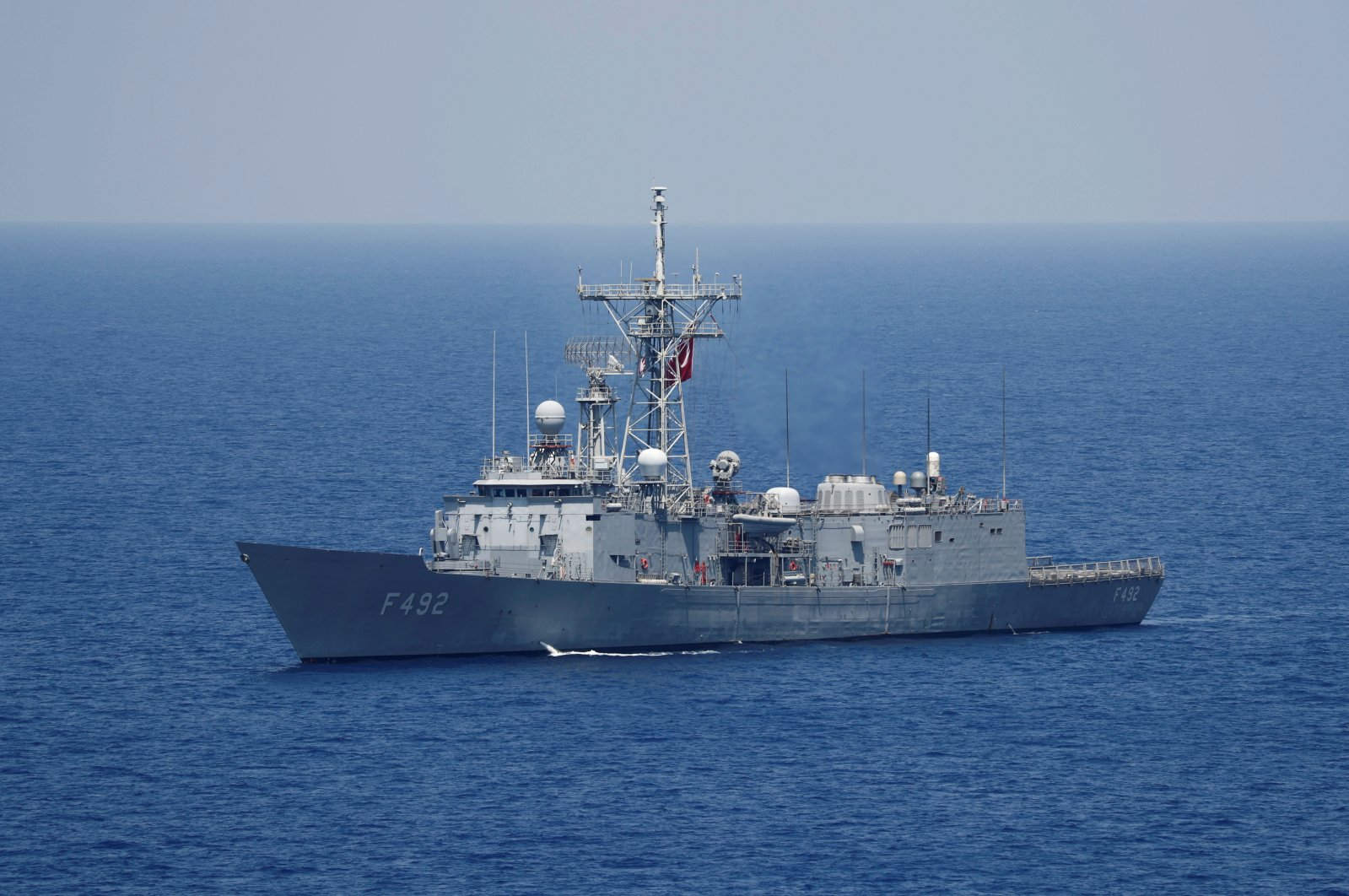 Turkish Navy frigate TCG Gemlik (F-492) escorts Turkish drilling vessel Yavuz in the Eastern Mediterranean Sea off Cyprus, Aug. 6, 2019. (Reuters Photo)