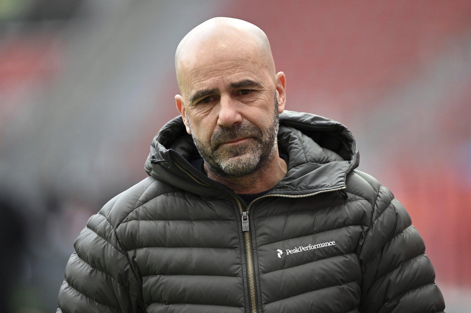 Leverkusen coach Peter Bosz before a Bundesliga match against Arminia Bielefeld in Leverkusen, Germany, March 14, 2021. (AP Photo)