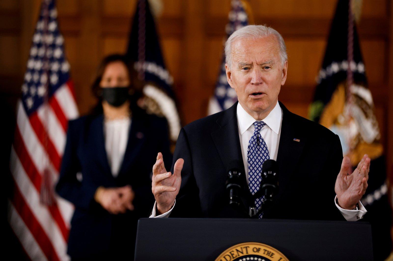 U.S. President Joe Biden and Vice President Kamala Harris deliver remarks in Atlanta, Georgia, U.S., March 19, 2021. (Reuters Photo)