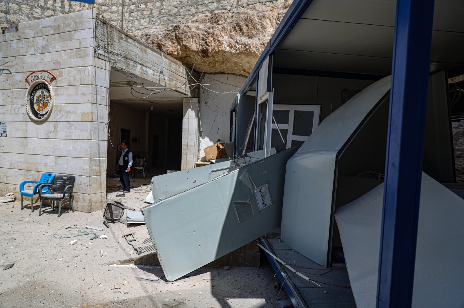 The destroyed main entrance to Atareb City Hospital following an artillery attack, Idlib, Syria, March 21, 2021. (Getty Images)
