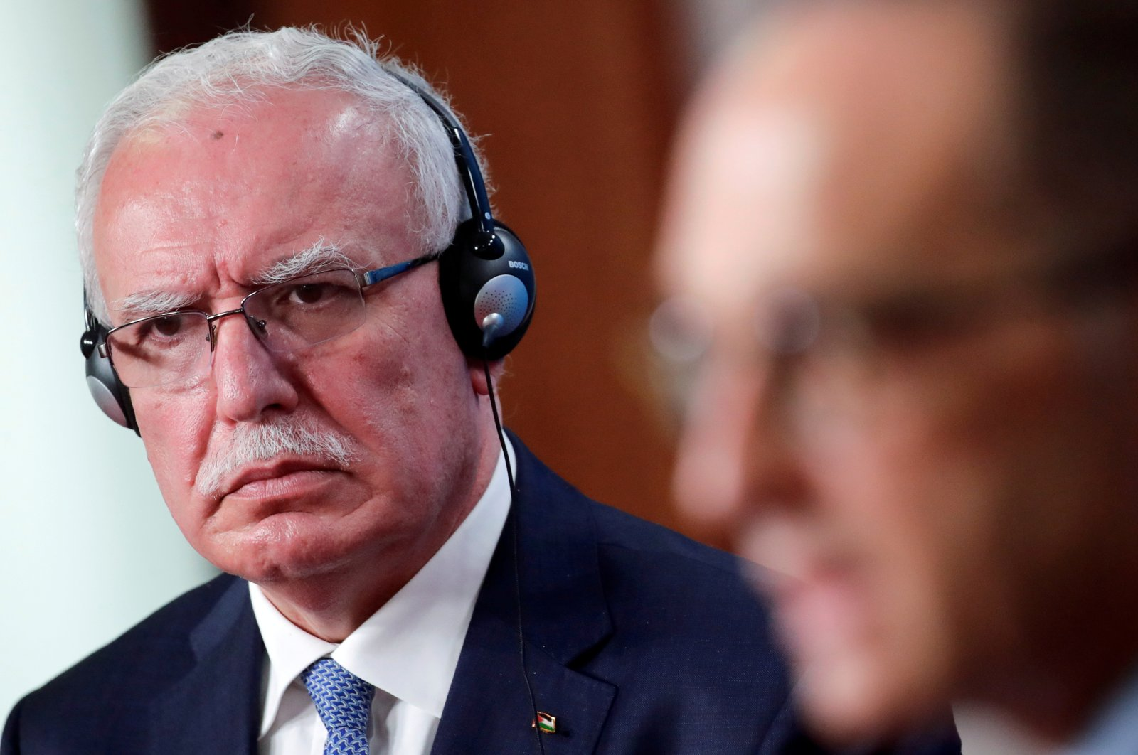 Palestine Foreign Minister Riyad al-Maliki listens as his German counterpart Heiko Maas speaks during a news conference following their meeting, in Berlin, Germany, Nov. 17, 2020. (Reuters Photo)