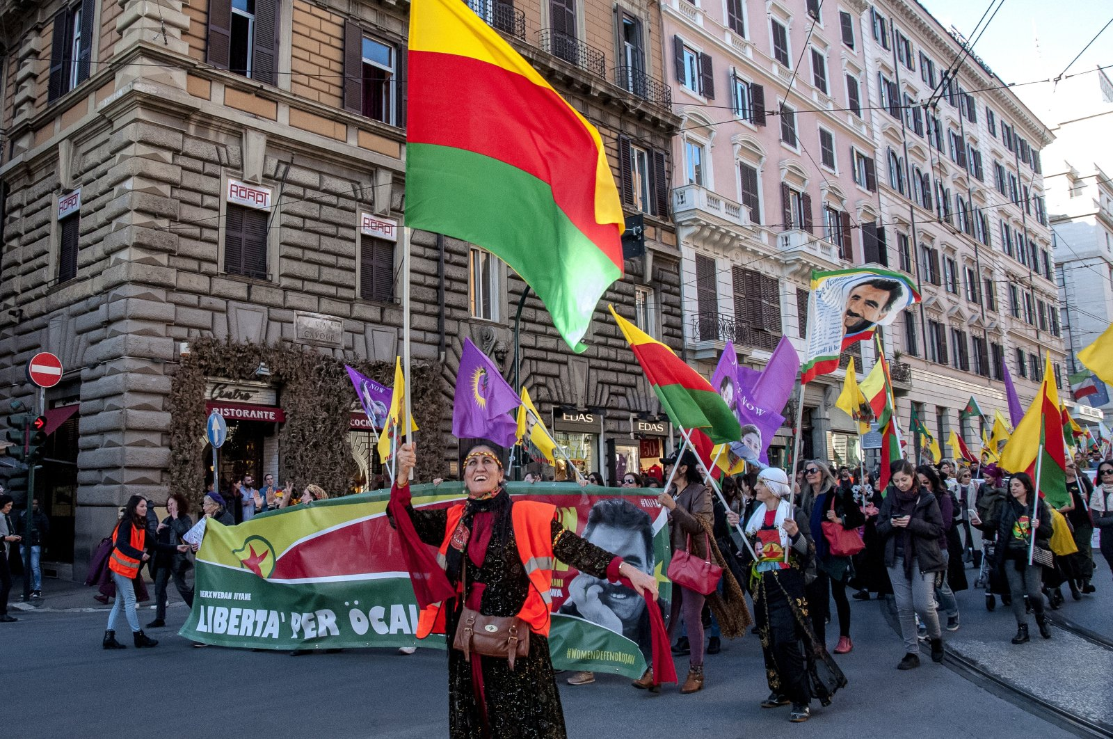 A pro-PKK demonstration for the release of the terrorist organization's leader Abdullah Öcalan, in Rome, Italy, Feb. 15, 2020 (Getty Images)