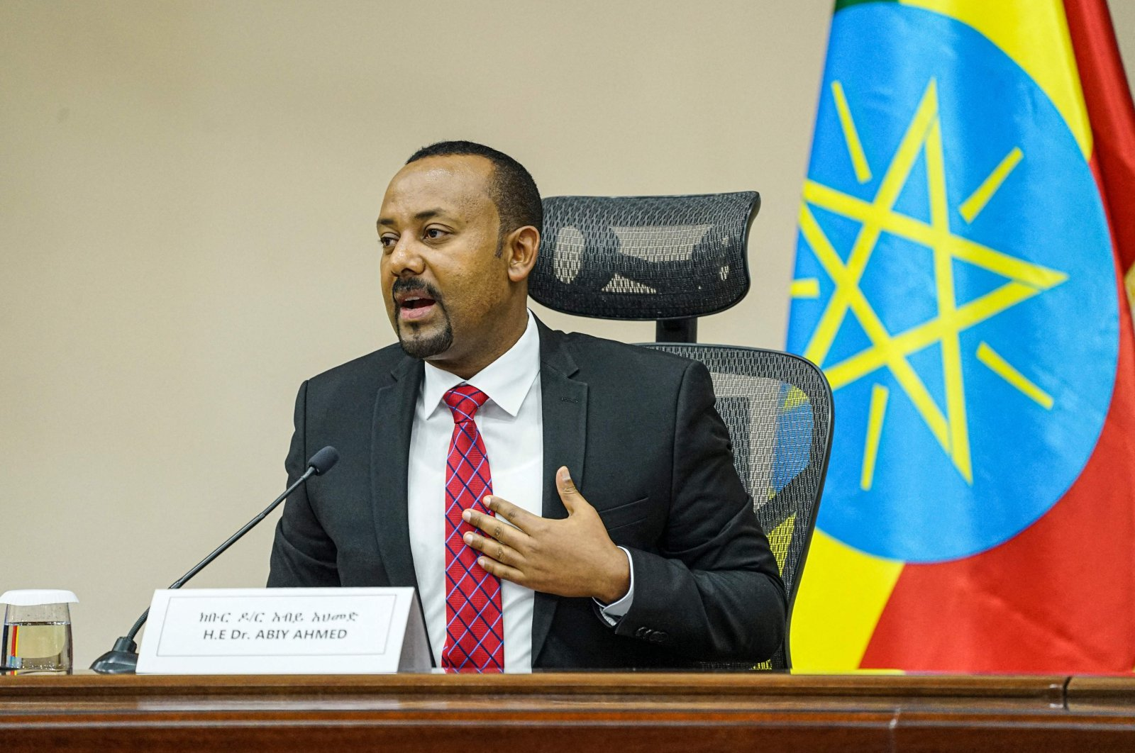 Ethiopian Prime Minister Abiy Ahmed speaks at the House of Peoples Representatives in Addis Ababa, Ethiopia, Nov. 30, 2020. (AFP Photo)