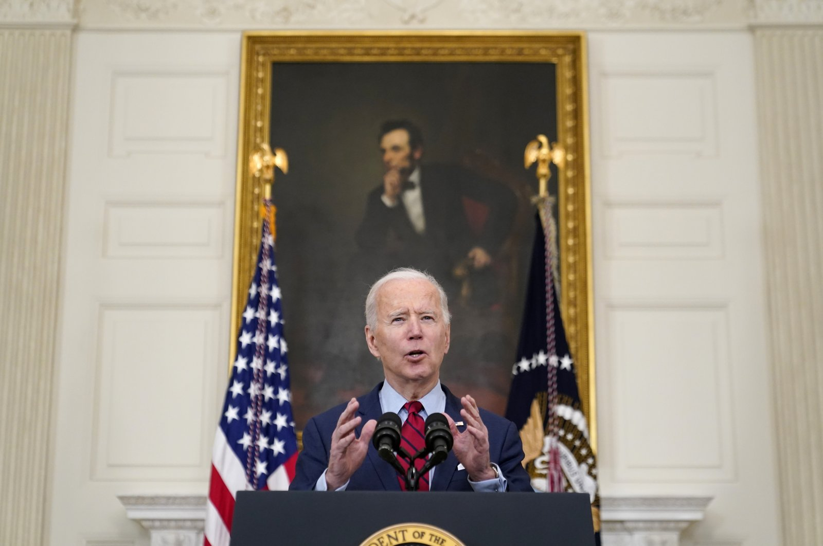 U.S. President Joe Biden speaks about the shooting in Boulder, Colorado, Tuesday, March 23, 2021, in the State Dining Room of the White House in Washington. (AP Photo)