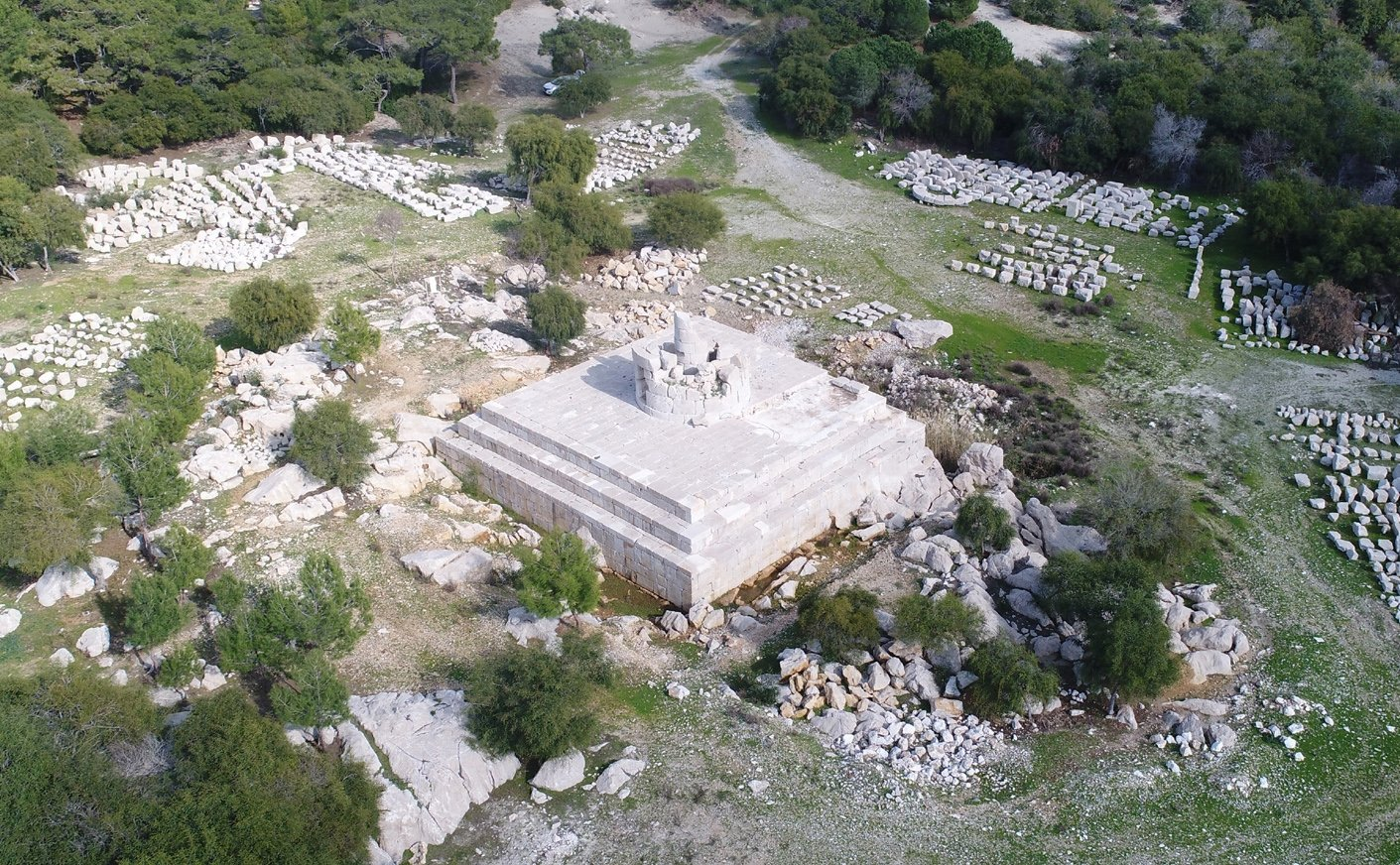 The ruins of the historical lighthouse at the ancient city of Patara can be seen in modern-day Antalya, southern Turkey, March 24, 2021. (DHA Photo)