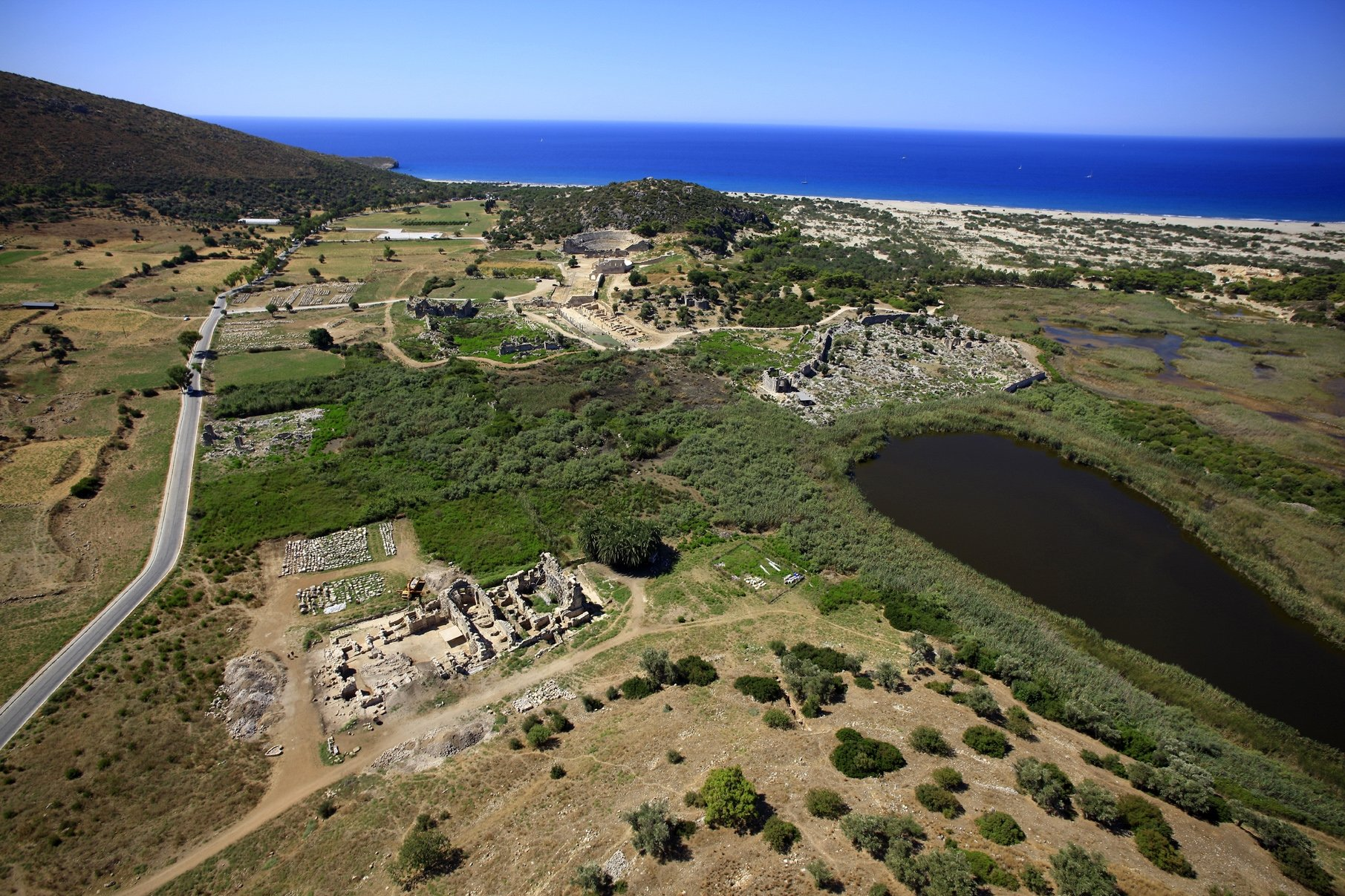 An aerial view shows the ancient city of Patara against the backdrop of the Mediterranean Sea in Antalya, southern Turkey, March 24, 2021. (DHA Photo)