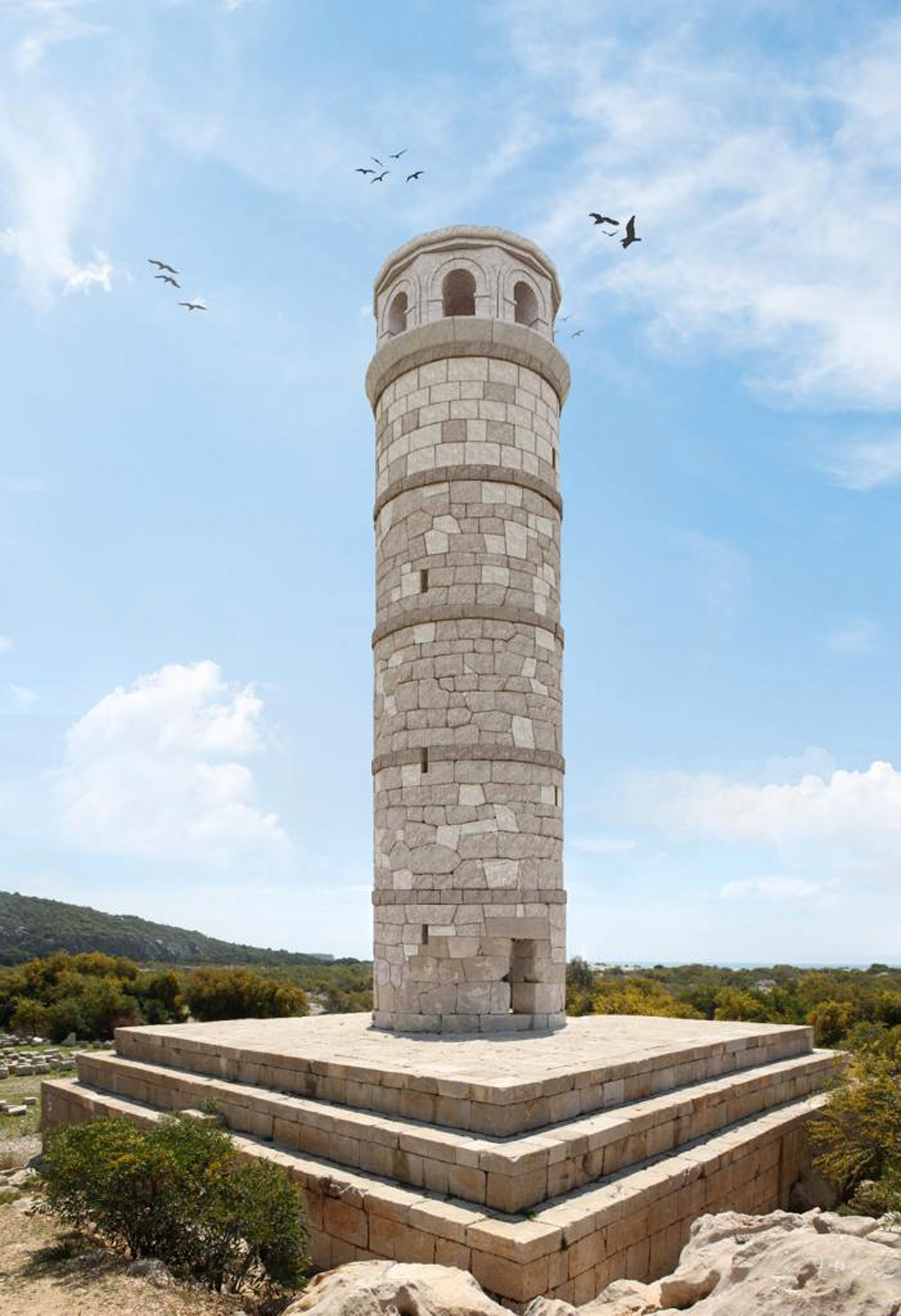 A computer generated image shows what the restored lighthouse of Patara will look like, Antalya, southern Turkey, March 24, 2021. (DHA Photo)