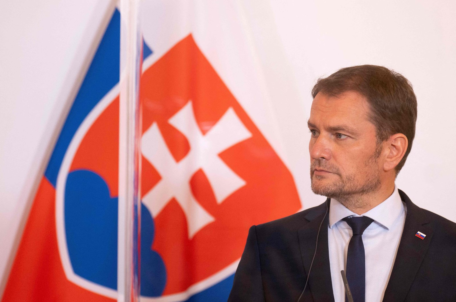Slovak Prime Minister Igor Matovic attends a press conference with the Czech prime minister and Austrian chancellor during the Slavkov-3 summit at the Austrian Chancellery in Vienna, Austria, Sep. 9, 2020. (AFP)