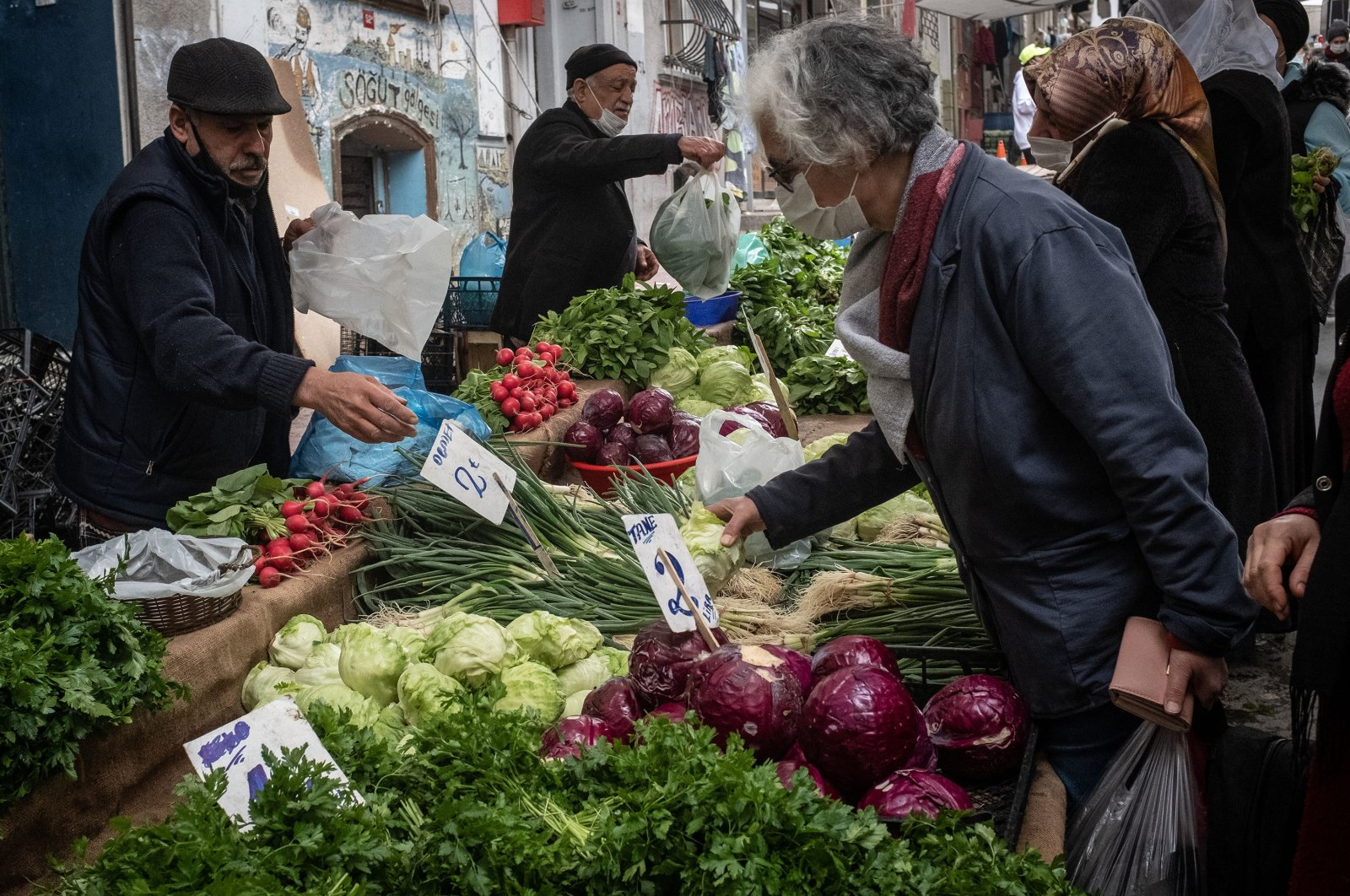 People shop at a local street market in Istanbul, Turkey, March 22, 2021. (Getty Images)