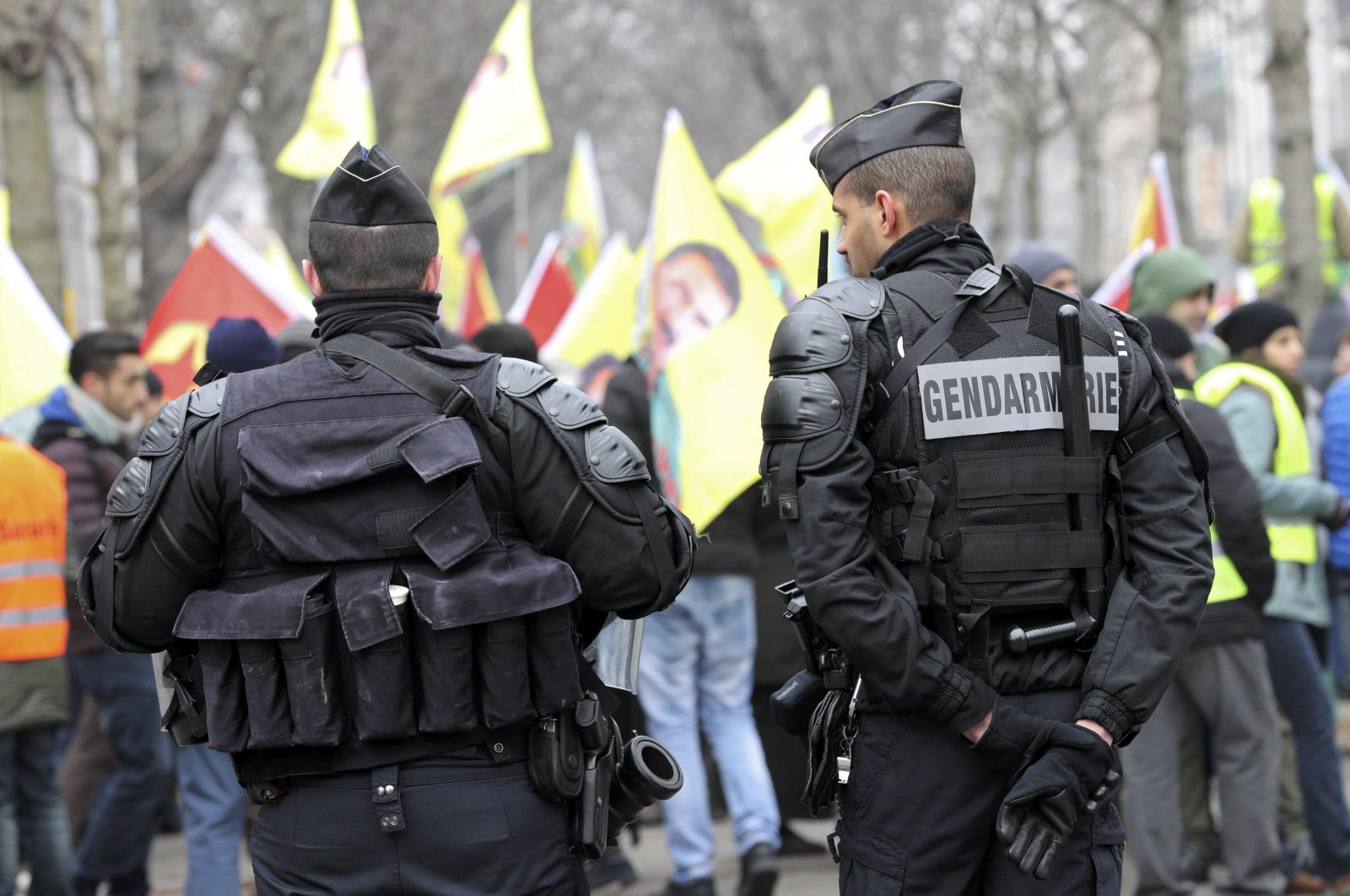 French gendarmes stand guard during a demonstration in support of jailed PKK terror group leader Abdullah Öcalan in Strasbourg, France, Feb. 11, 2017.  (REUTERS/Jean-Marc Loos)
