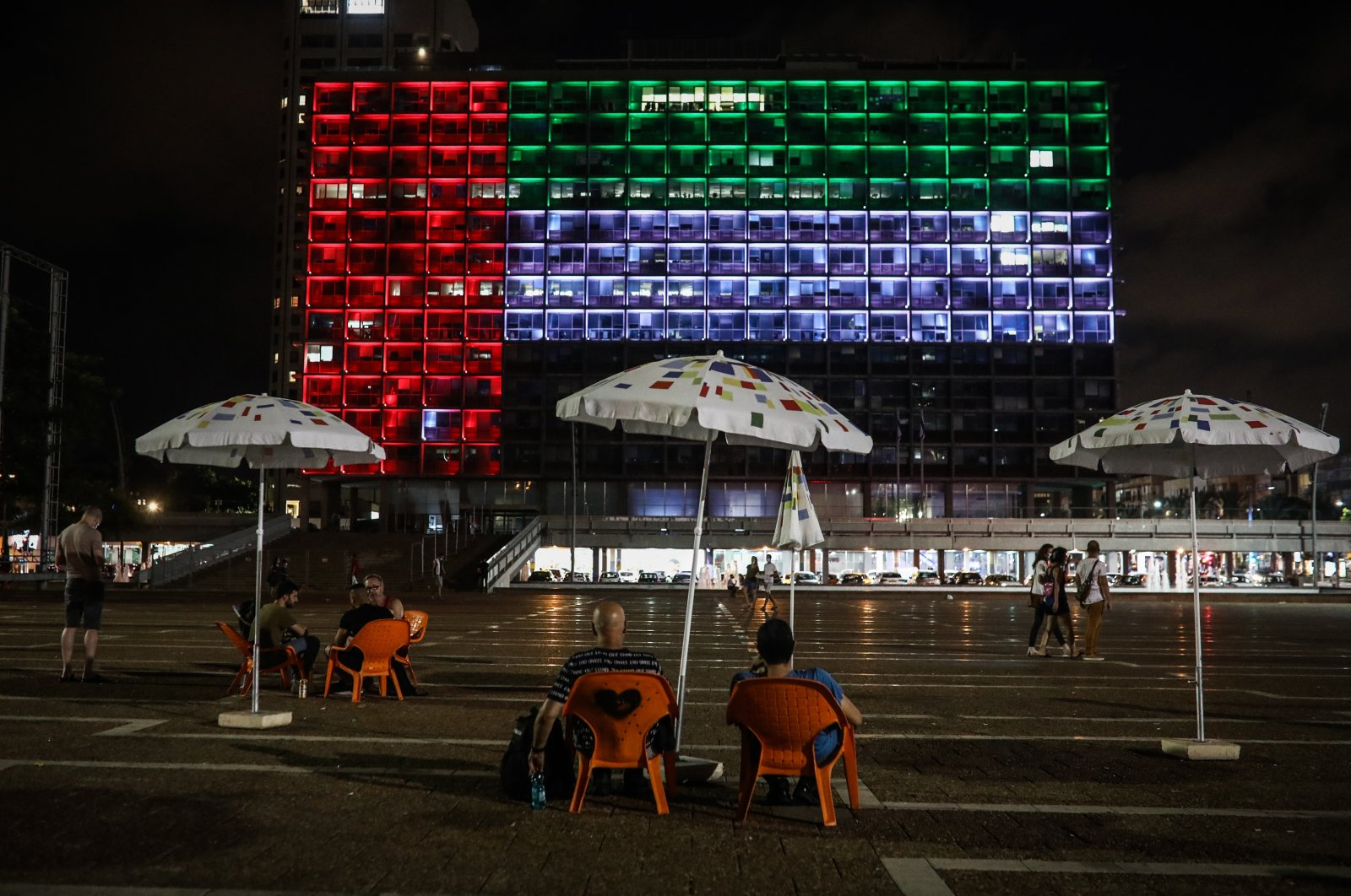 The United Arab Emirates's national flag displayed on a building following the UAE-Israel normalization deal, Tel Aviv, Israel, Aug. 13, 2020. (Photo by Getty Images)