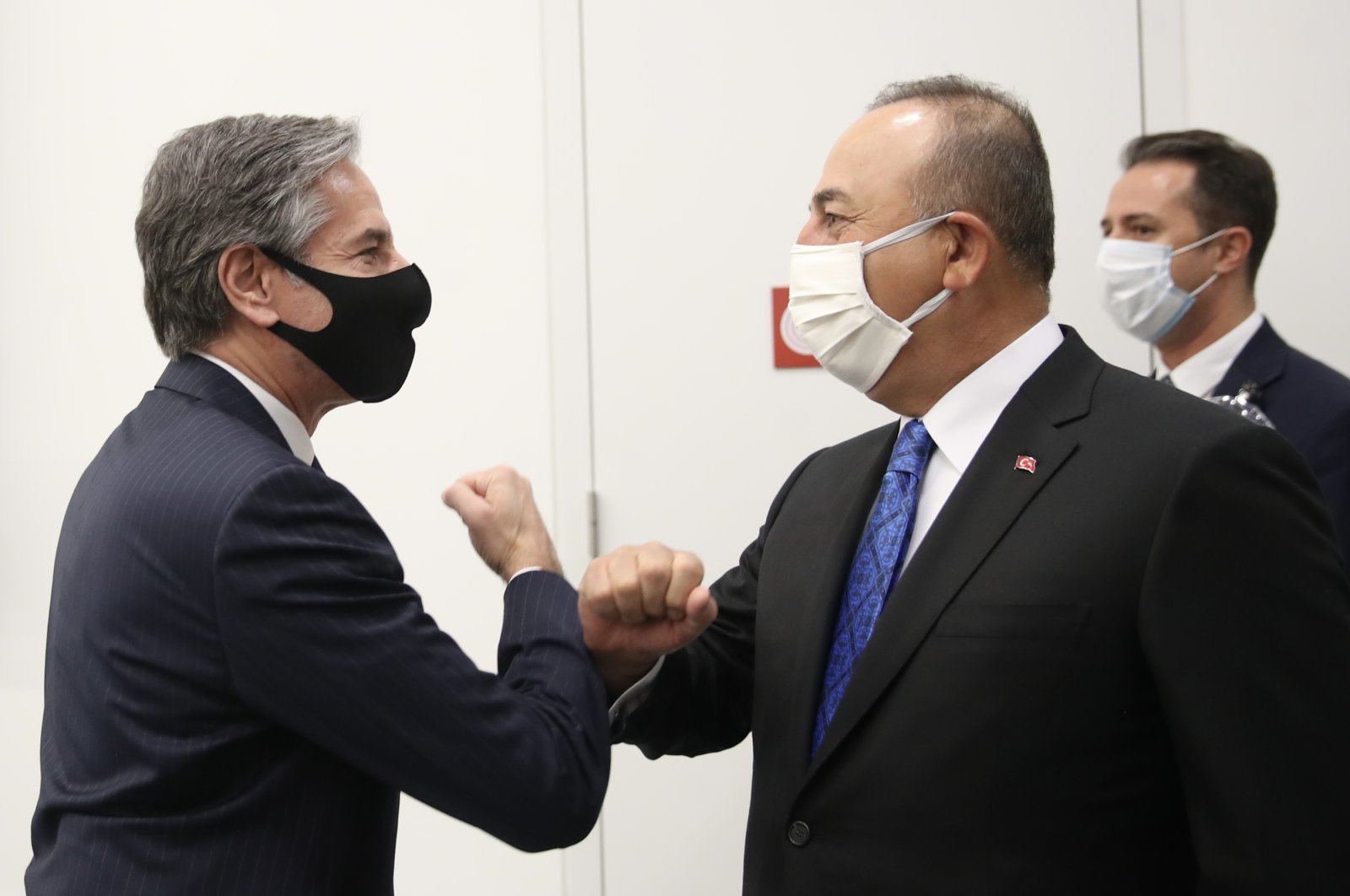 Foreign Minister Mevlüt Çavuşoğlu (R) meets U.S. Secretary of State Antony Blinken in Brussels on the sidelines of the NATO meeting, March 24, 2021. (AA Photo)