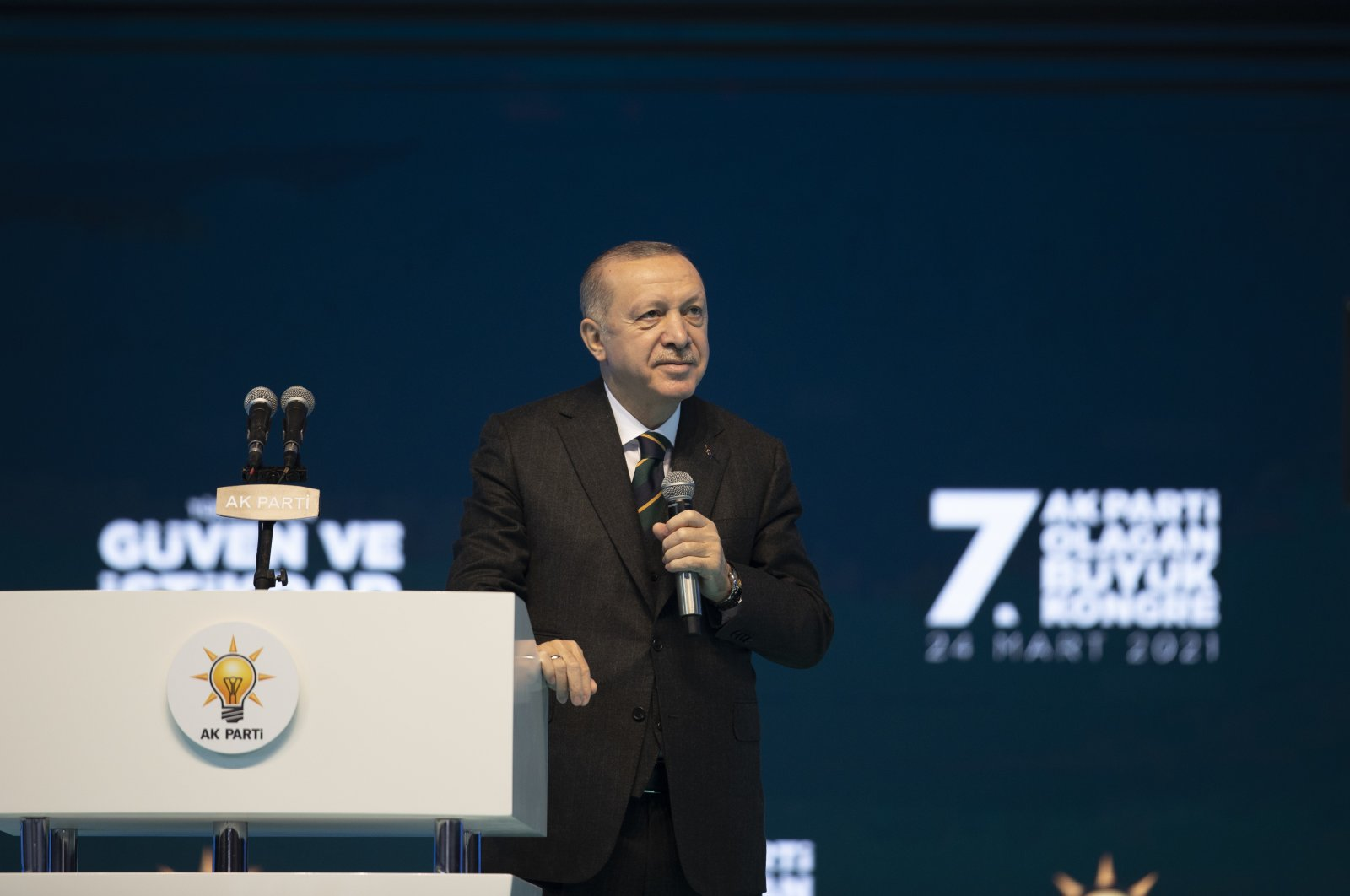 President Recep Tayyip Erdoğan speaks during the Seventh Grand Ordinary Congress of the ruling Justice and Development (AK Party), Ankara, Turkey, March 24, 2021. (AA Photo)