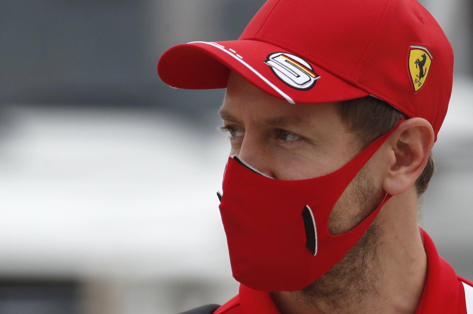 Then-Ferrari driver Sebastian Vettel at the first free practice at the Formula One Bahrain International Circuit in Sakhir, Bahrain, Nov. 27, 2020. (AP Photo)