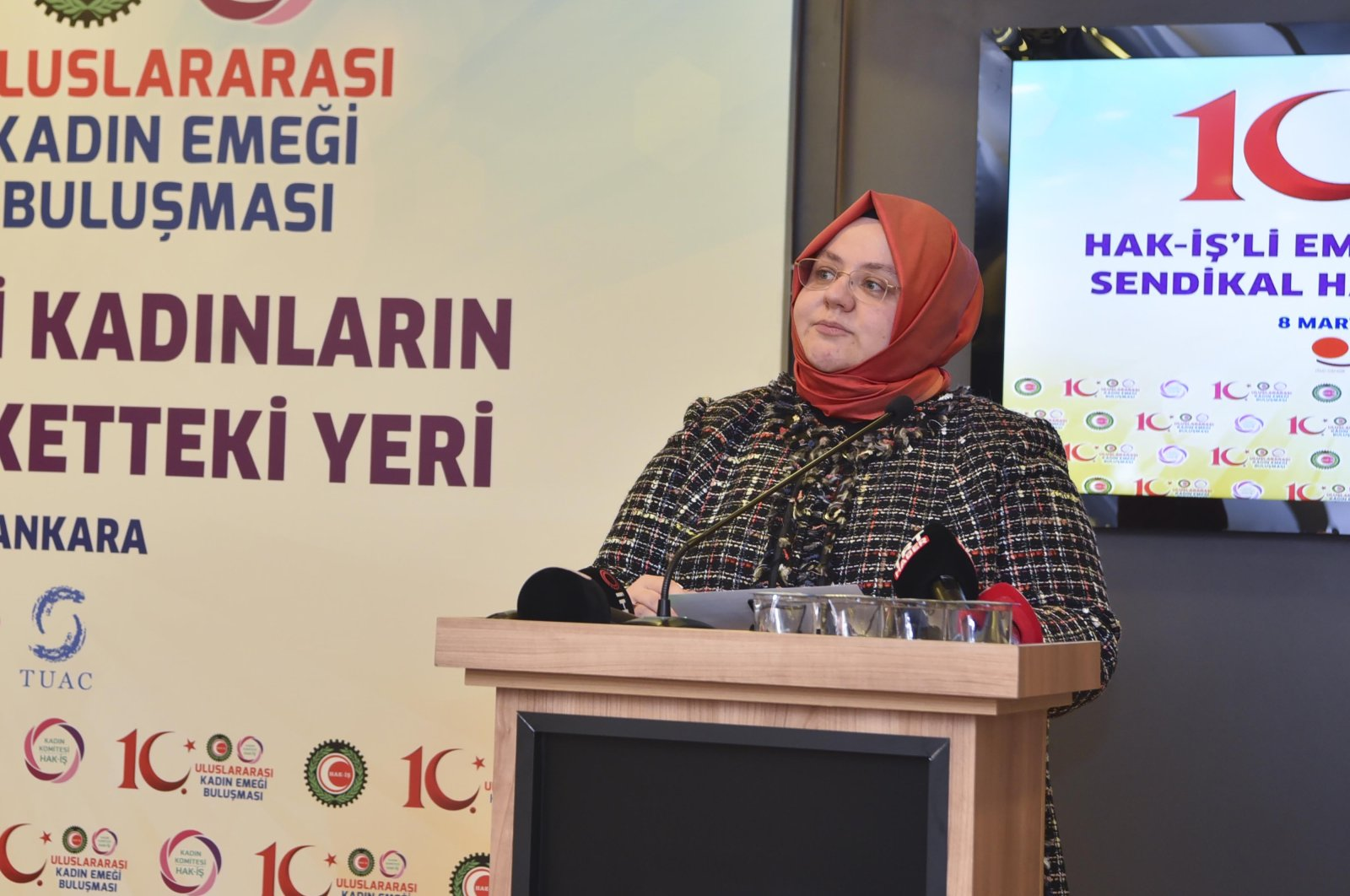 Turkey's Family, Labor and Social Services Minister Zehra Zümrüt Selçuk talks at the 10th International Women's Labor Meeting, organized by the HAK Worker Unions Confederation (HAK-IŞ), in Ankara, Turkey, March 8, 2021. (DHA)